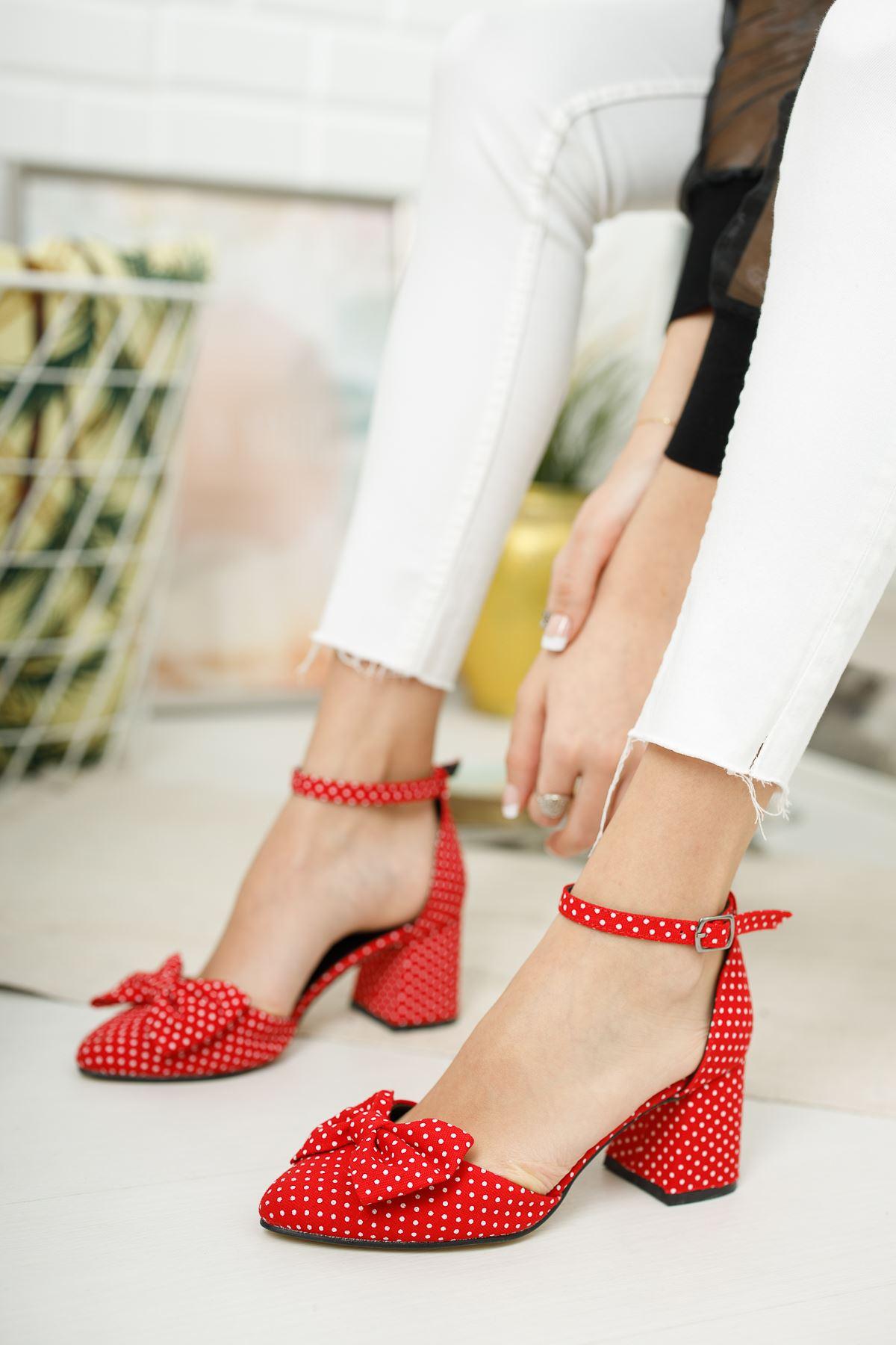 Kadın Polder Puantiye Hafif Topuklu Kırmızı Ayakkabı