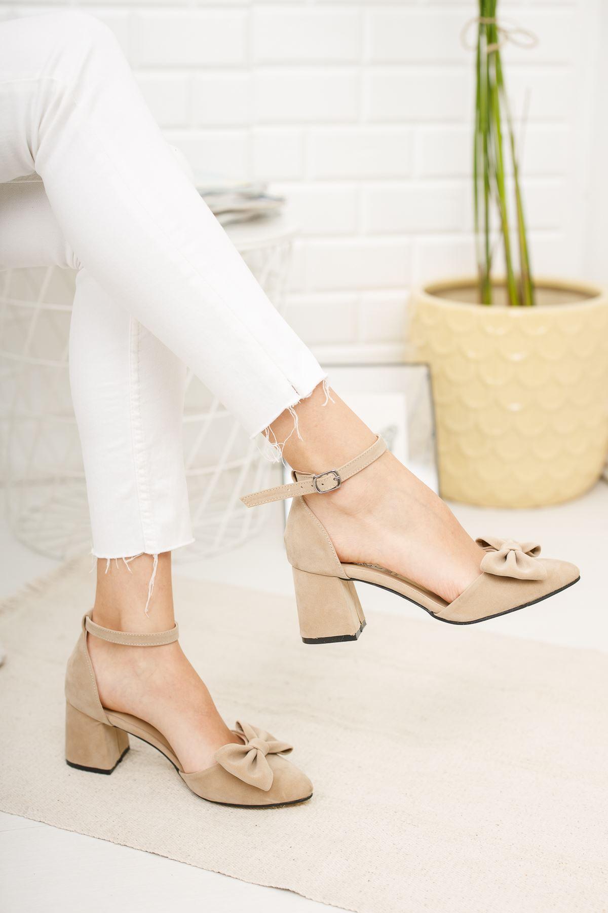 Kadın Verto Papyon Detay  Ten Süet Topuklu Ayakkabı