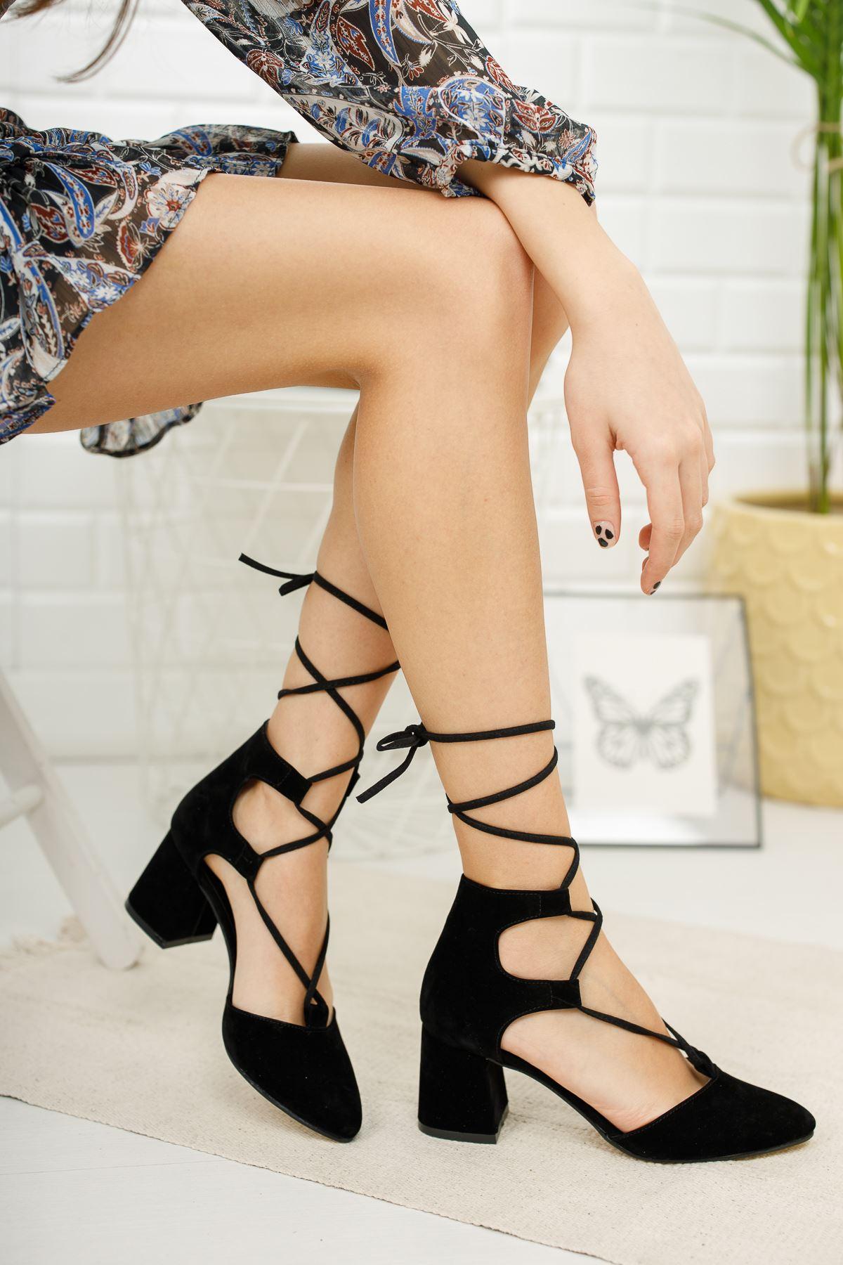 Kadın Kathi Siyah Süet Hafif Topuklu Ayakkabı