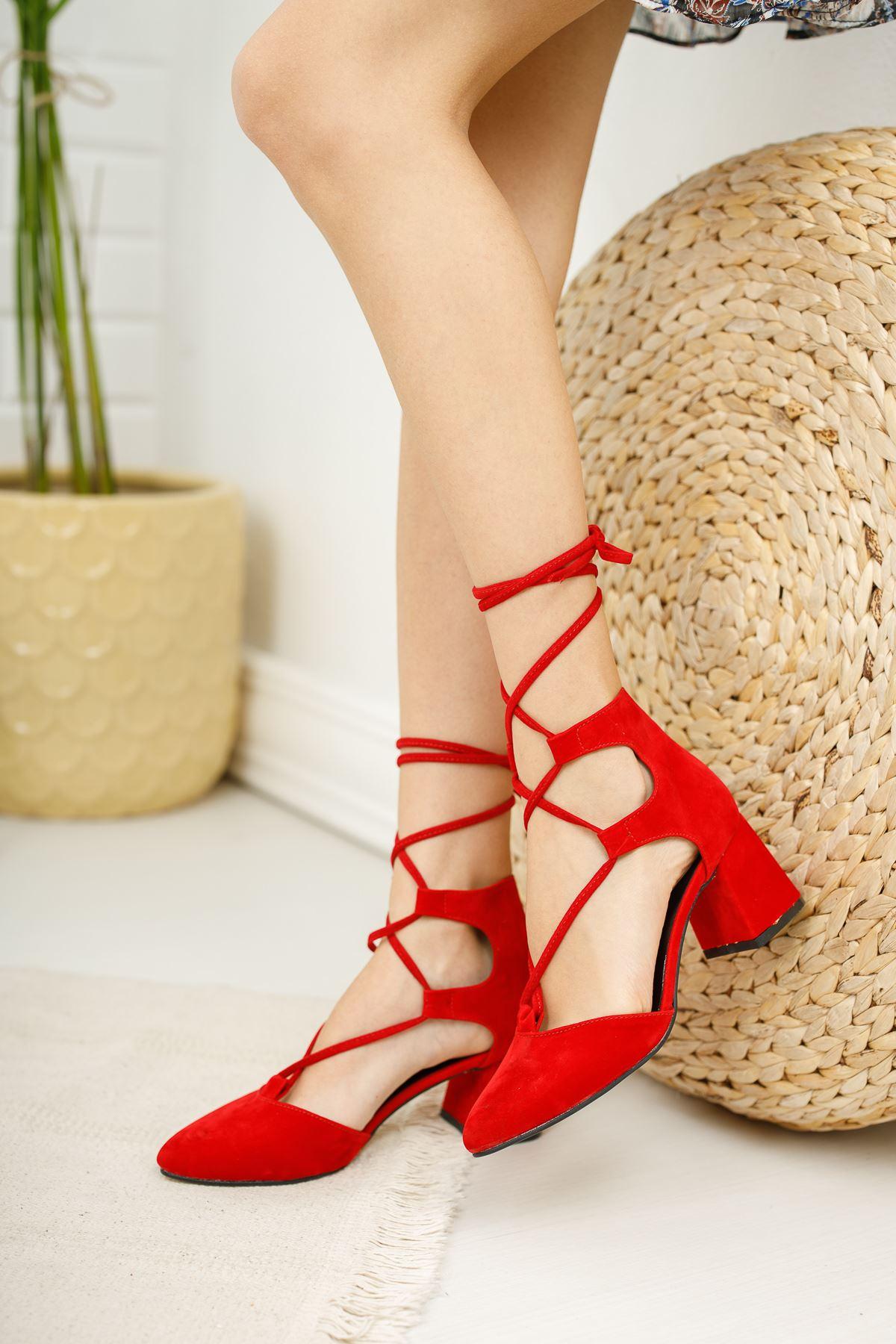 Kadın Kathi Kırmızı Süet Hafif Topuklu Ayakkabı