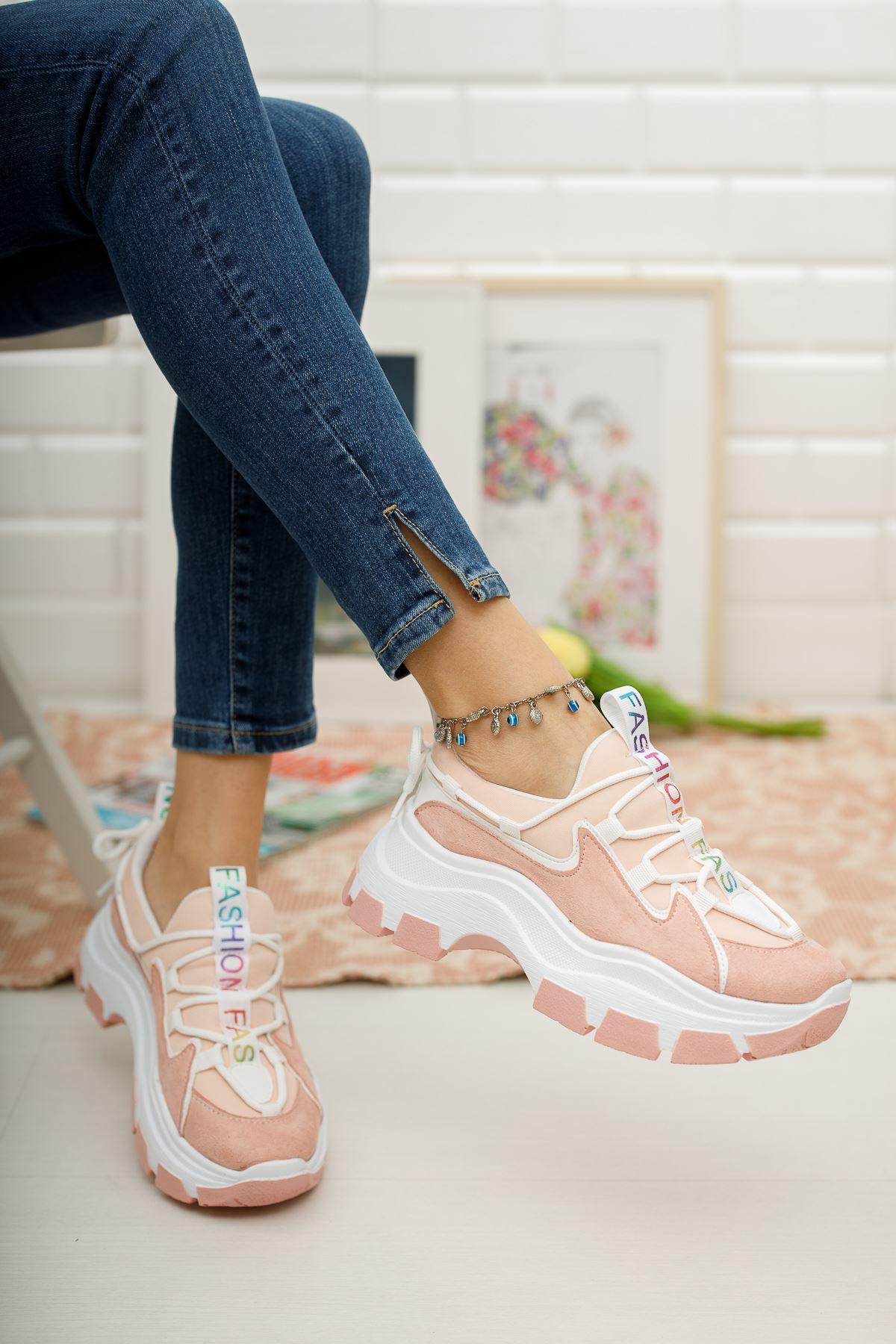 Kadın Badde Kalın Taban Pudra Spor Ayakkabı