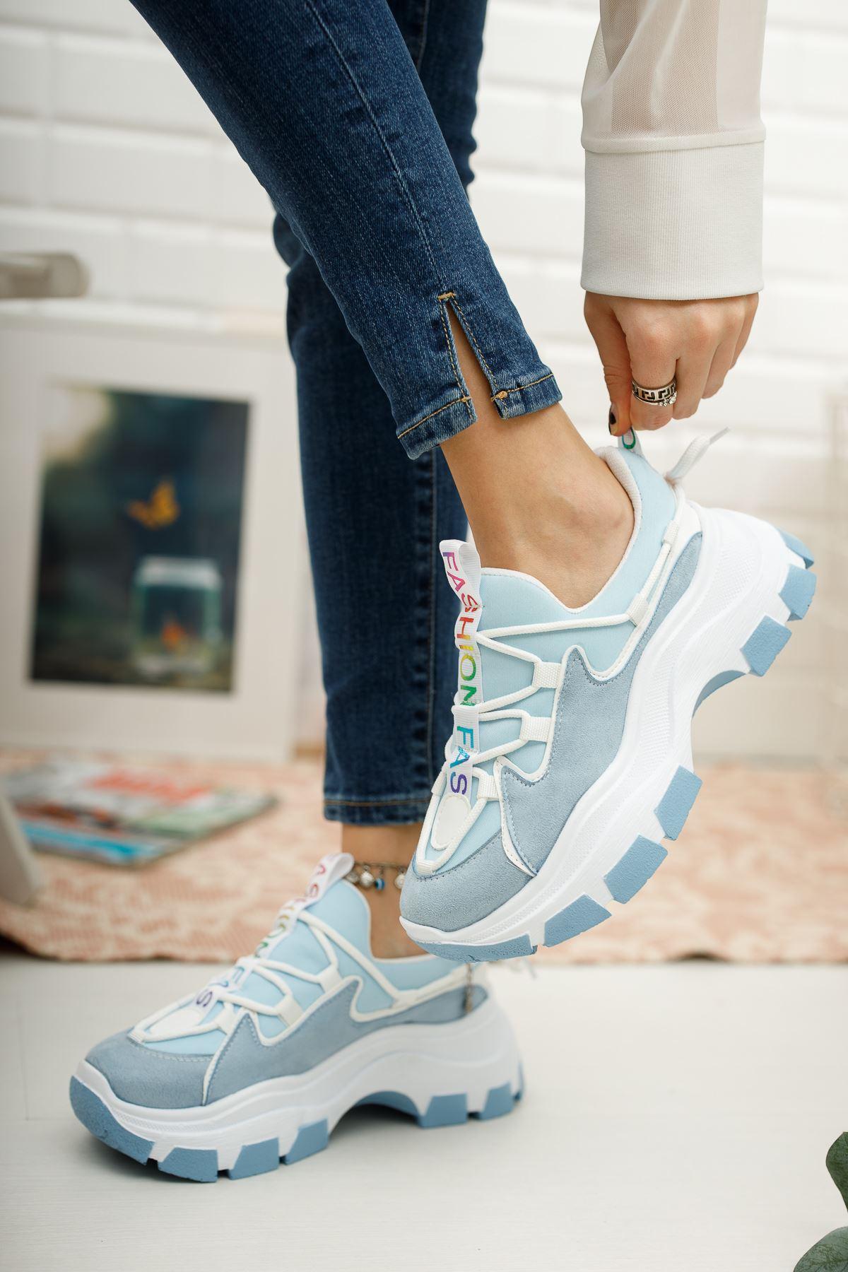 Kadın Badde Kalın Taban Mavi Spor Ayakkabı