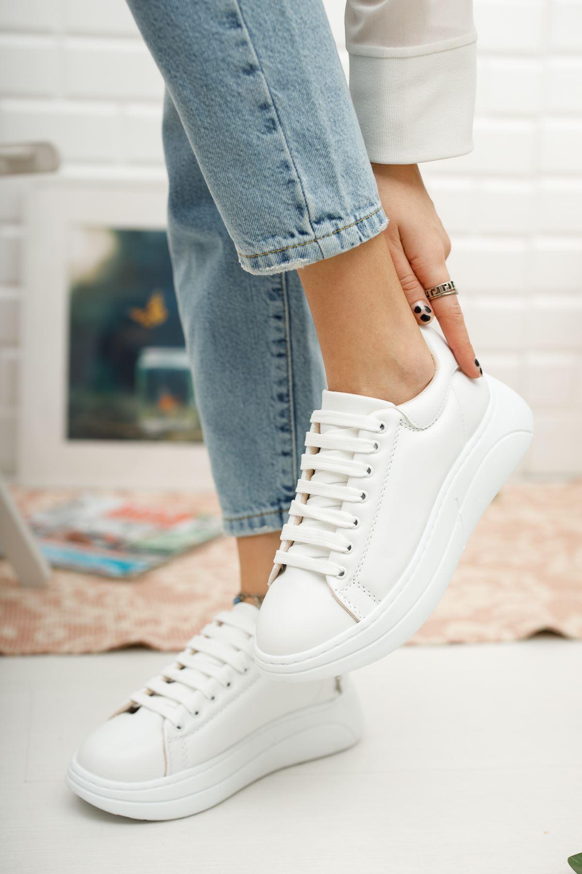 Kadın Kendal Kalın Taban Beyaz Spor Ayakkabı
