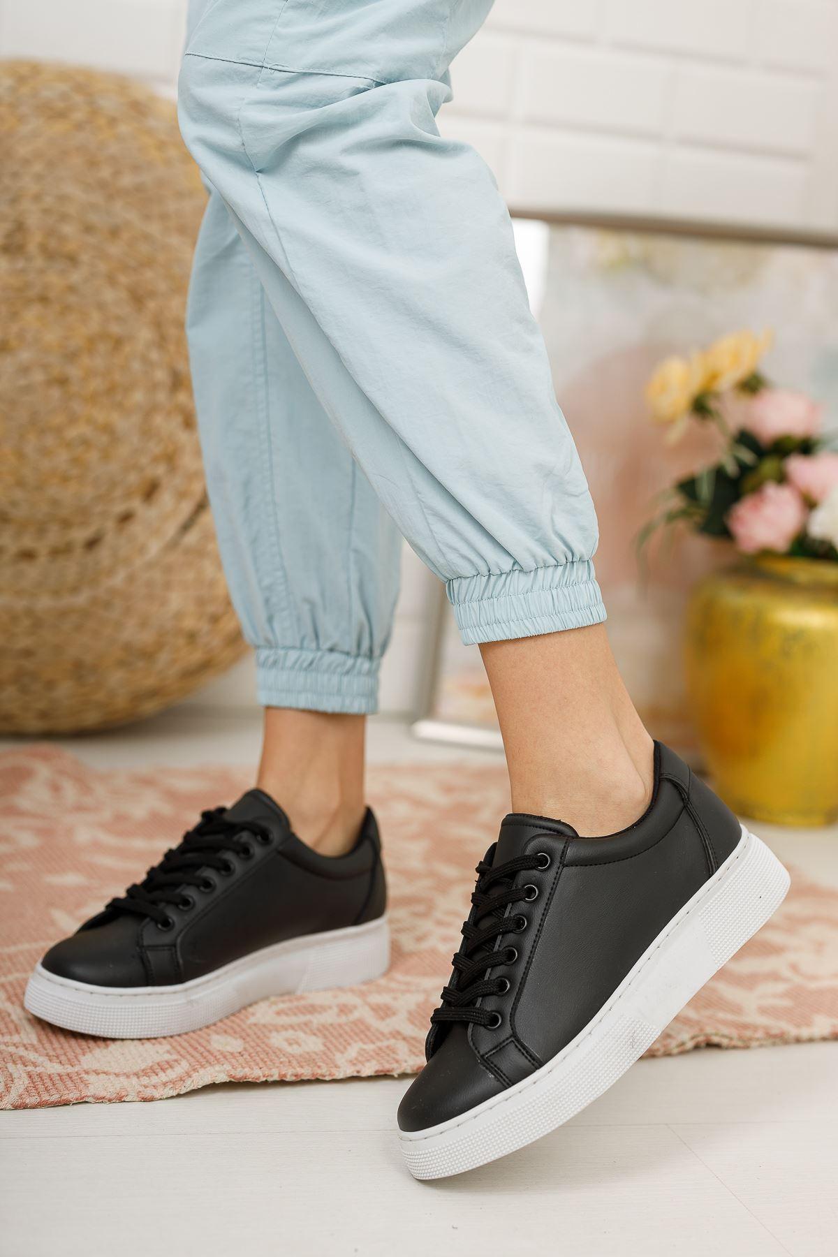 Kadın Ammar Kalın Taban Bağcıklı Siyah Spor Ayakkabı