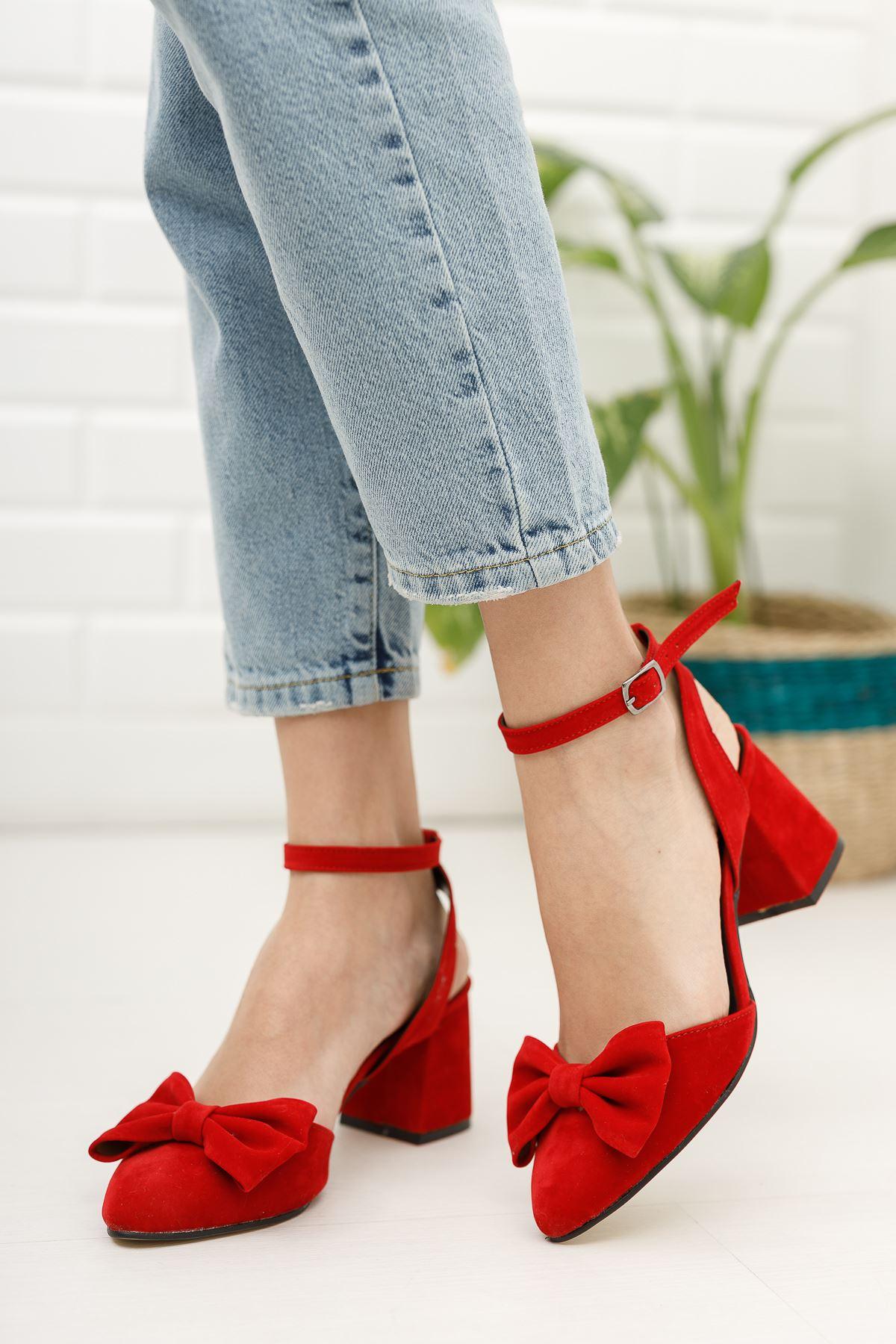 Kadın Hilemo Süet Topuklu Ayakkabı Kırmızı