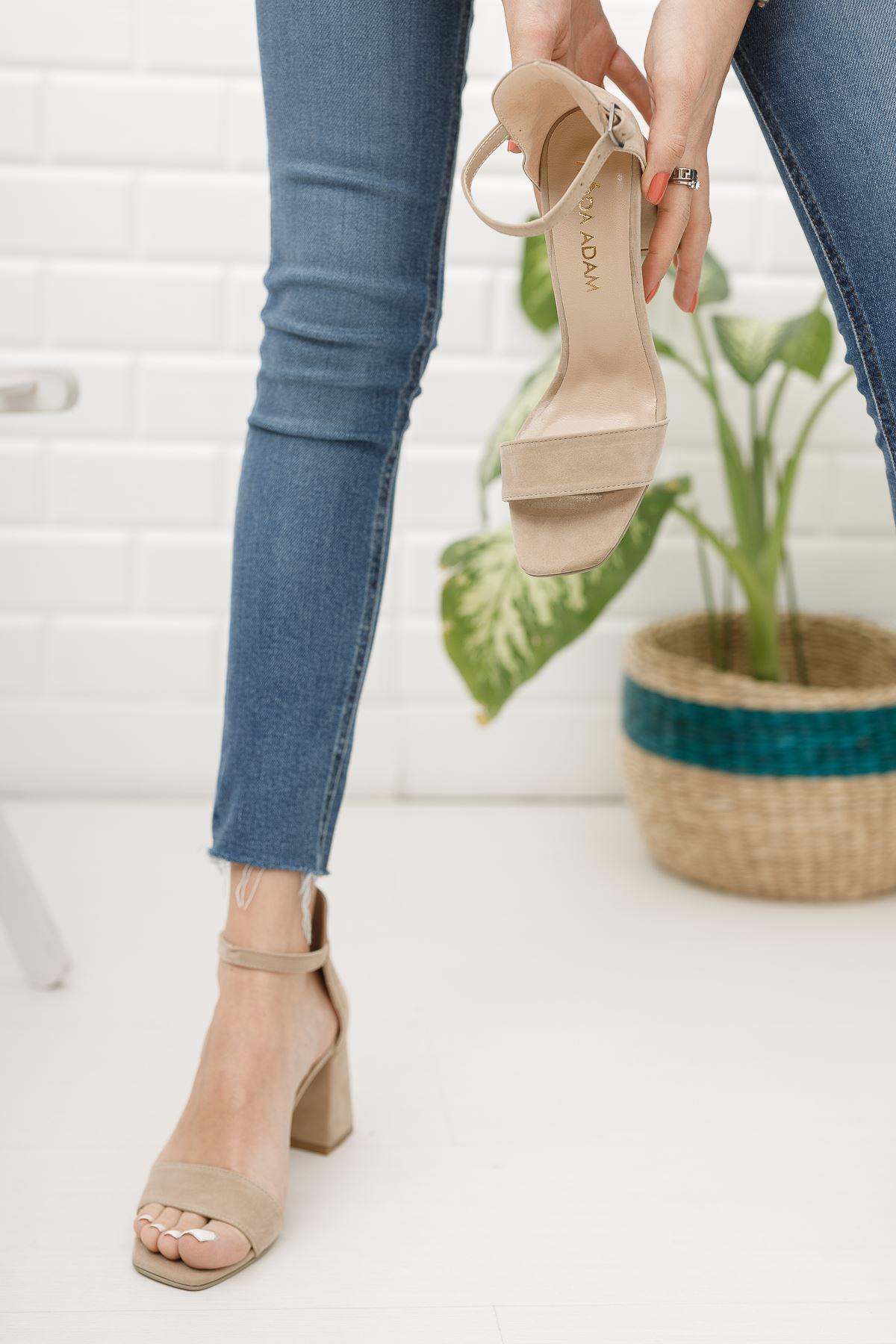 Kadın Toronto Kısa Topuklu Köşe Burun Ten Süet Tek Bant Ayakkabı