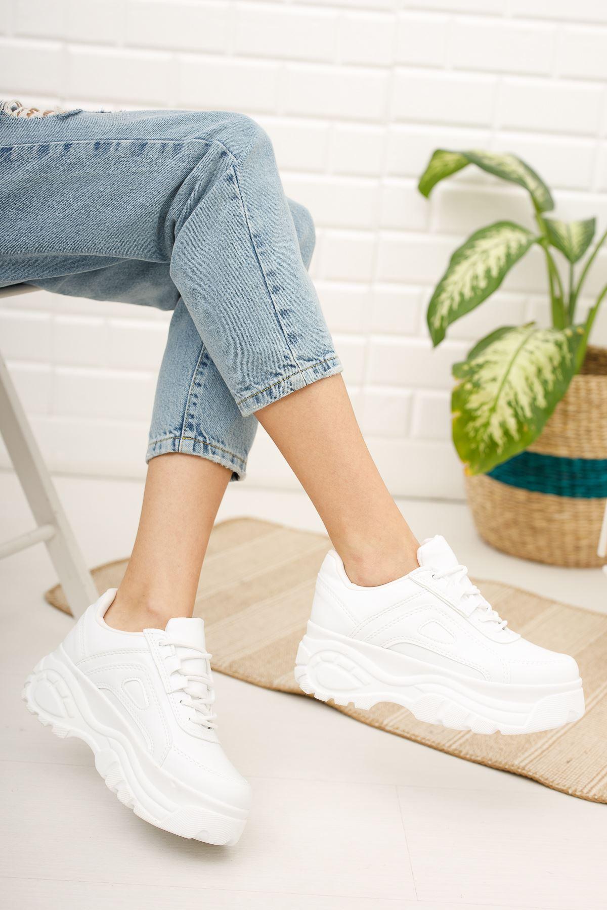 Kadın Buffalo Kalın Taban Bağcıklı Beyaz Spor Ayakkabı