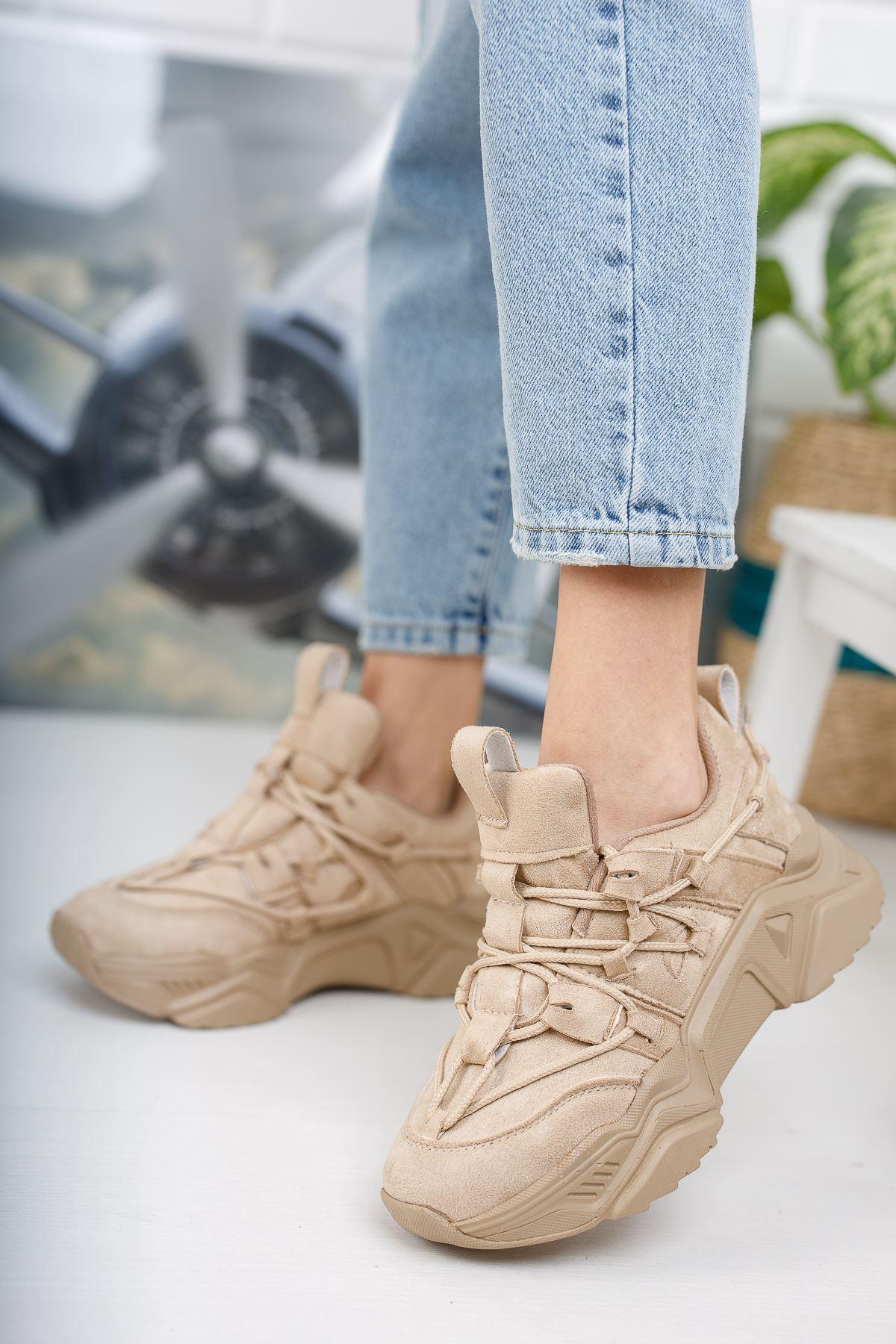 Kadın Grix Kalın Taban Bağcıklı Vizon Spor Ayakkabı