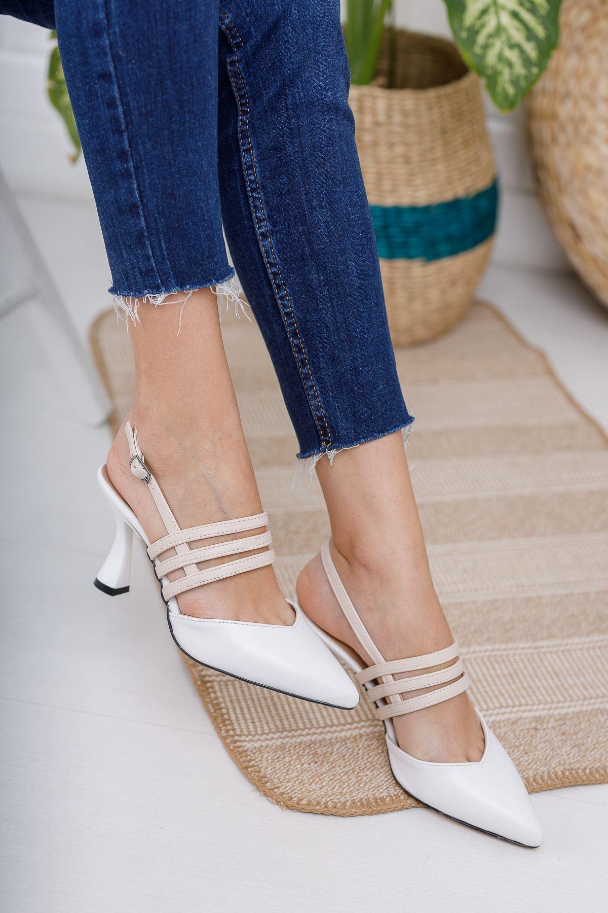 Kadın Minta Sivri Burun Mat Deri Ten-Beyaz Detay Kadeh Topuklu Ayakkabı