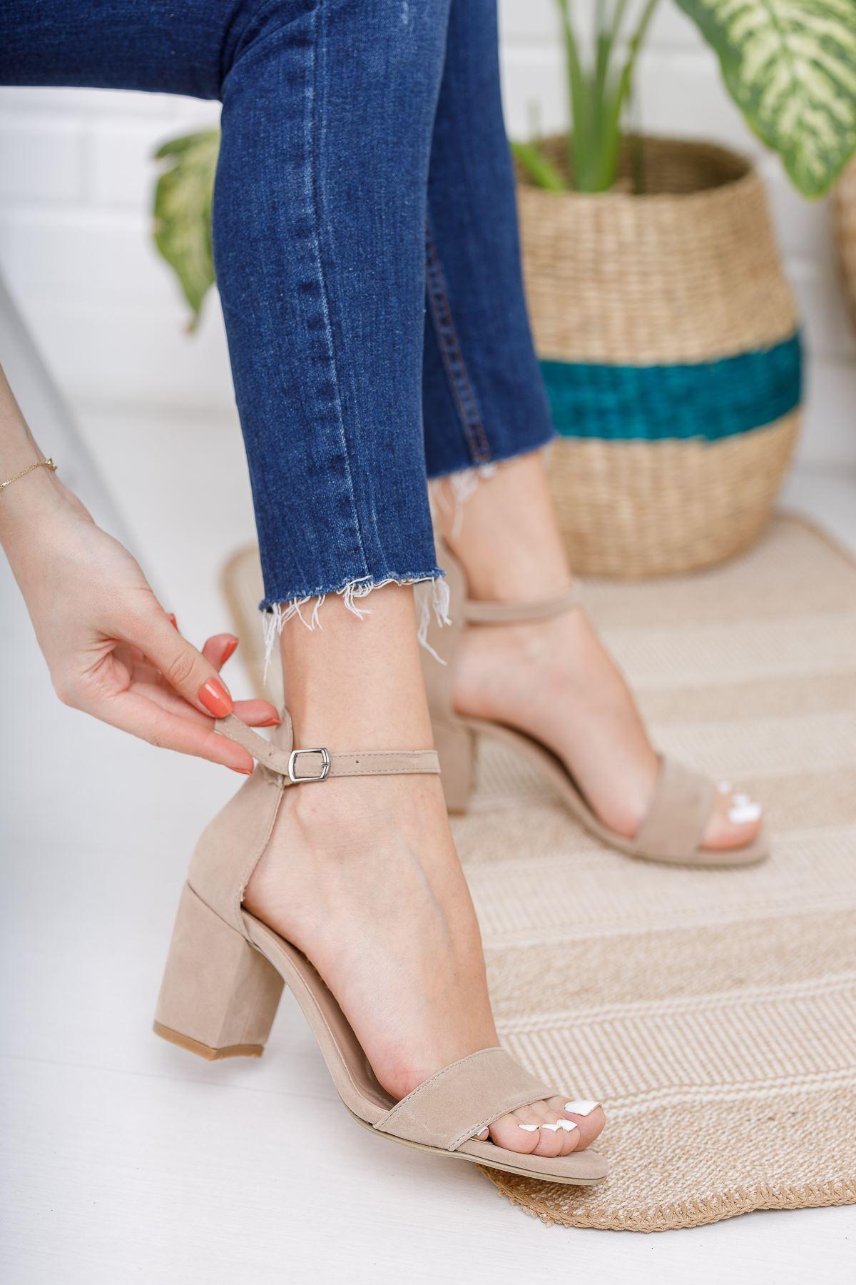 Kadın Mardian Ten Süet Tek Bant Kısa Topuklu Ayakkabı