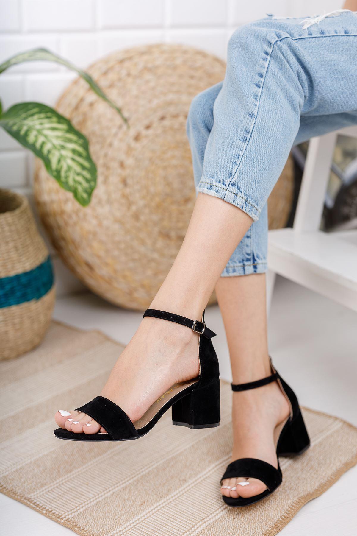 Kadın Lord Siyah Süet Topuklu Ayakkabı