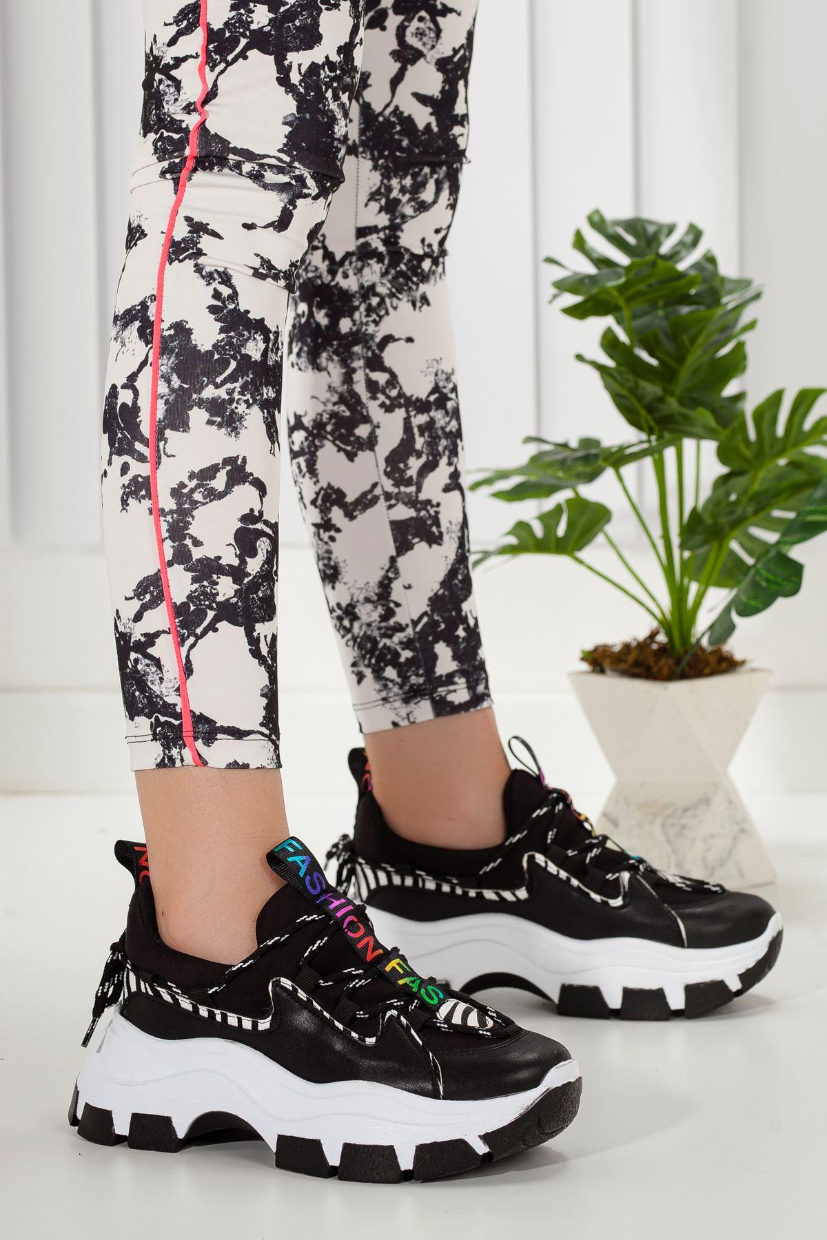 Kadın Badde Kalın Taban Siyah Spor Ayakkabı