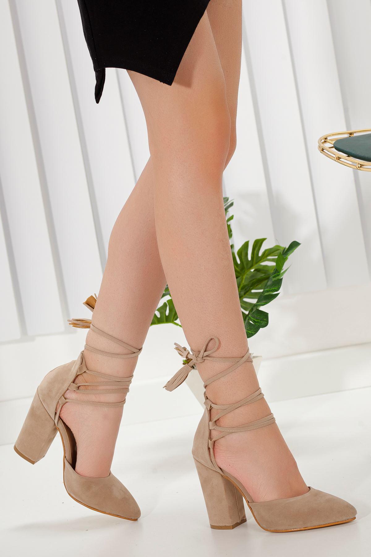 Kadın Marina Ten Süet Topuklu Ayakkabı