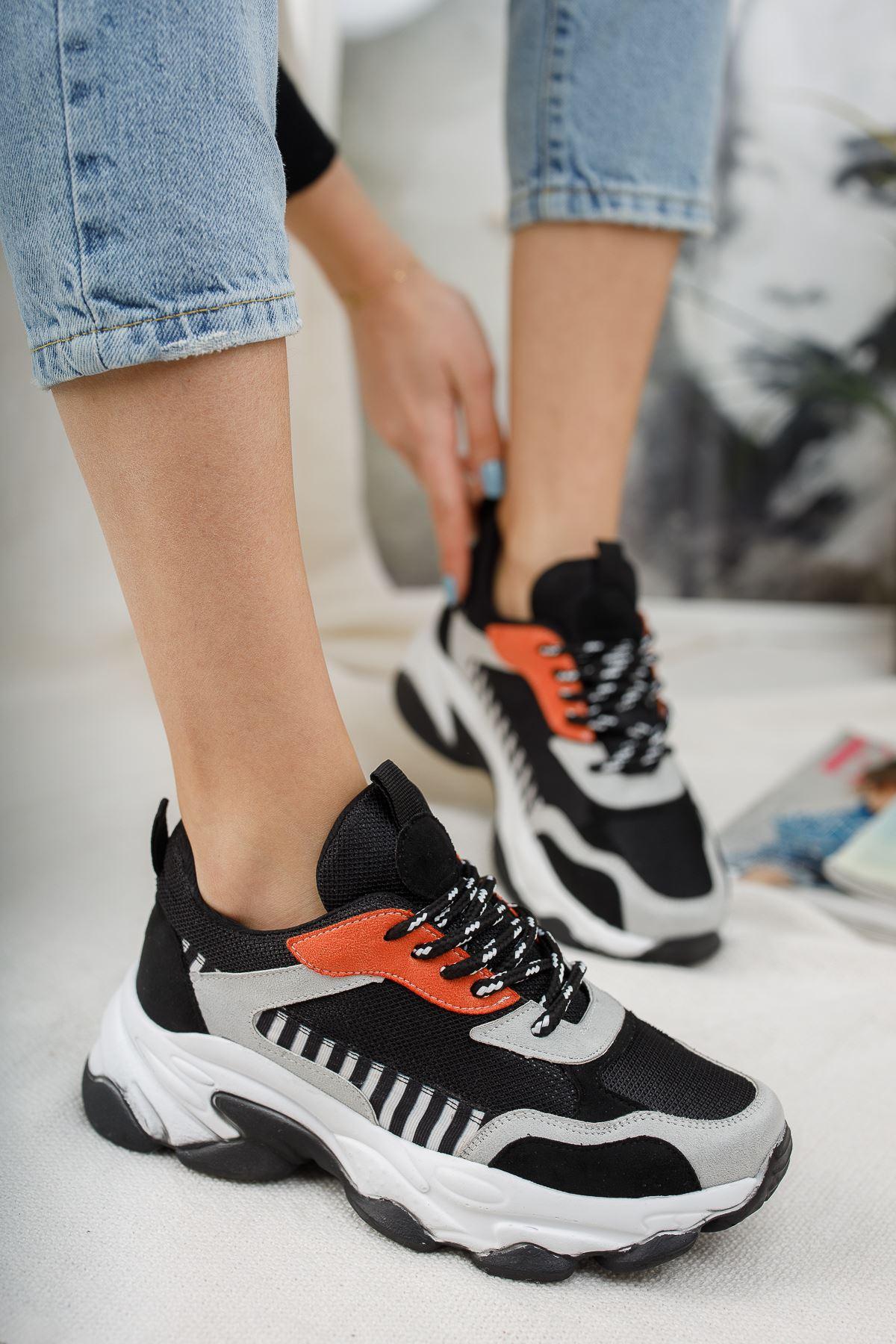 Kadın Reborn Çizgi Detaylı Kalın Taban Kadın Spor Ayakkabı Siyah