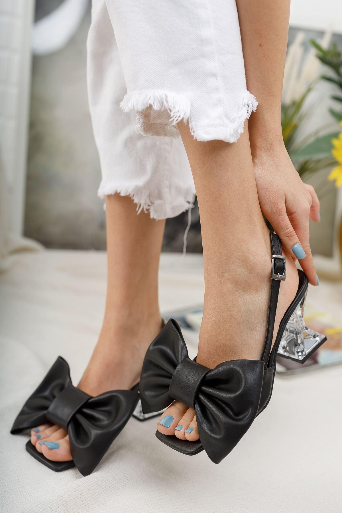 Kadın Paplik Şeffaf Topuklu Papyon Detaylı Mat Deri Siyah Ayakkabı