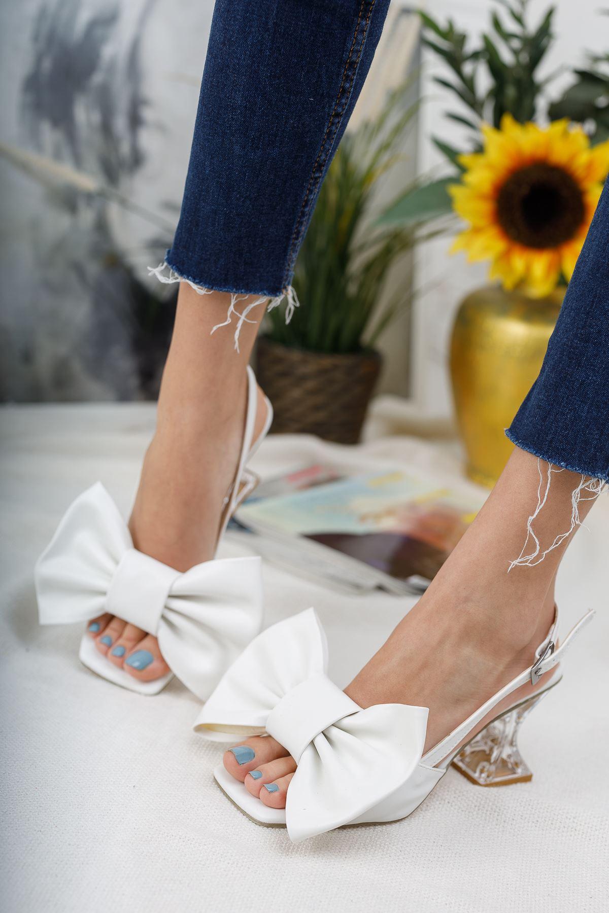 Kadın Paplik Şeffaf Topuklu Papyon Detaylı Mat Deri Beyaz Ayakkabı