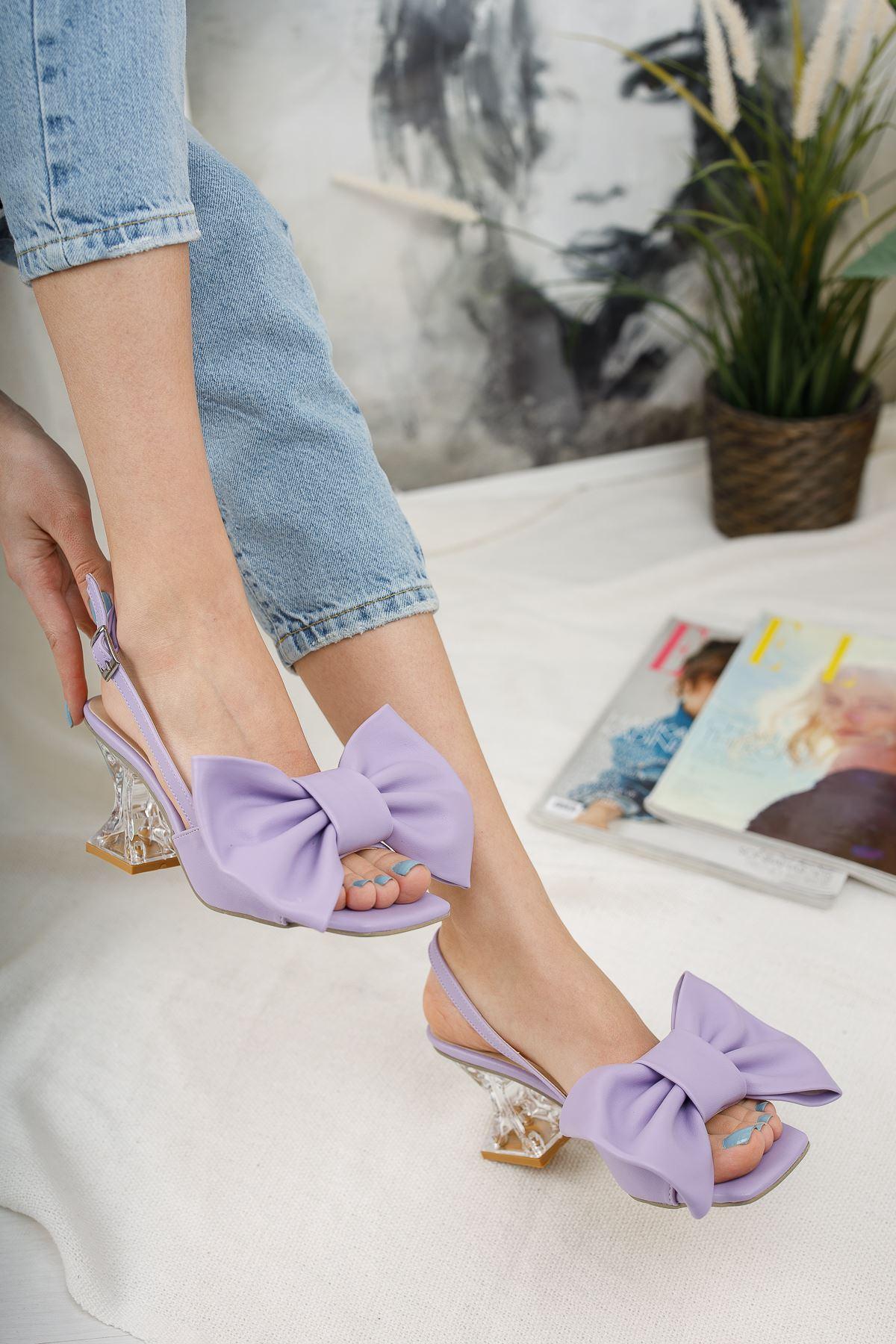 Kadın Paplik Şeffaf Topuklu Papyon Detaylı Mat Deri Lila Ayakkabı