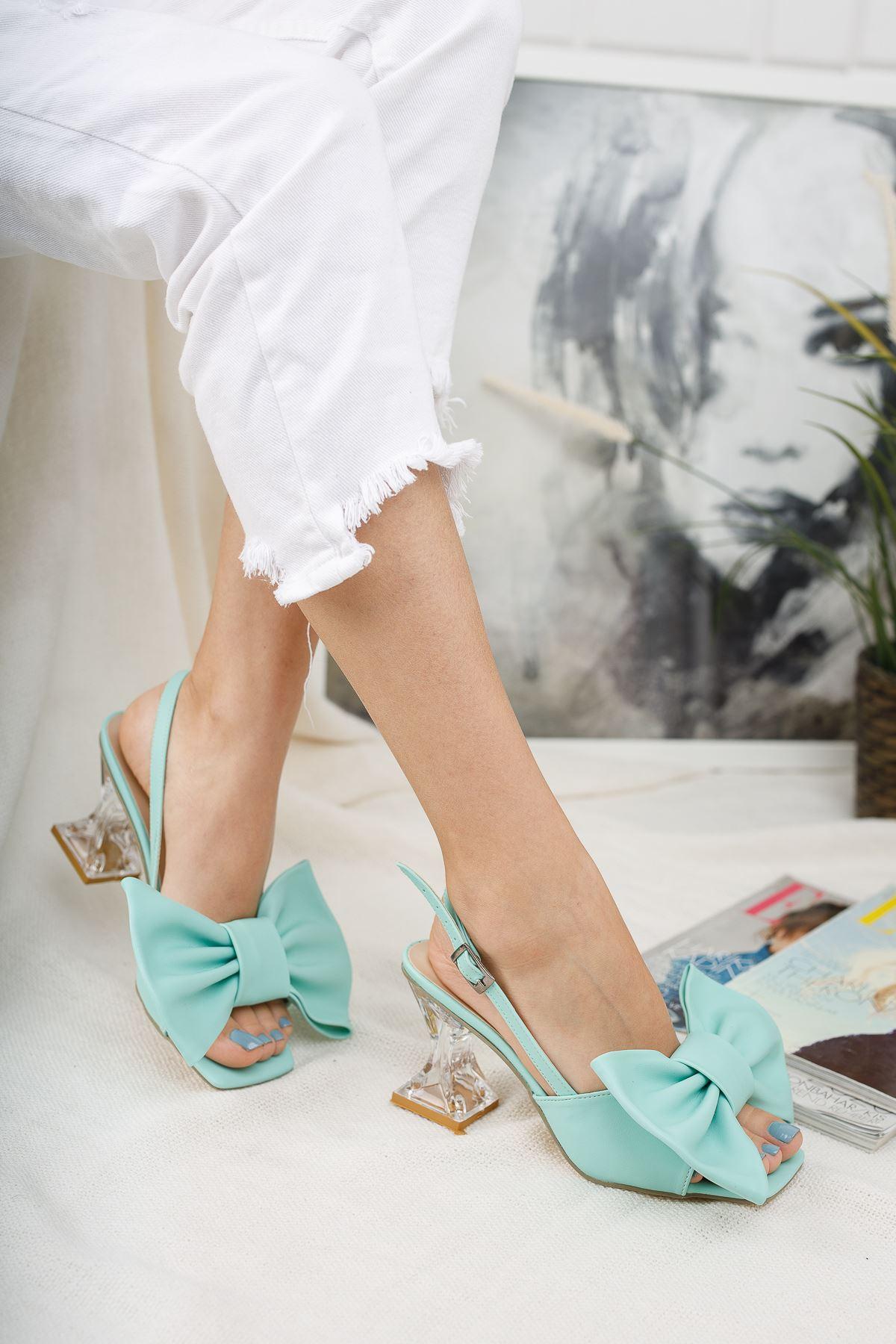 Kadın Paplik Şeffaf Topuklu Papyon Detaylı Mat Deri Su Yeşili Ayakkabı