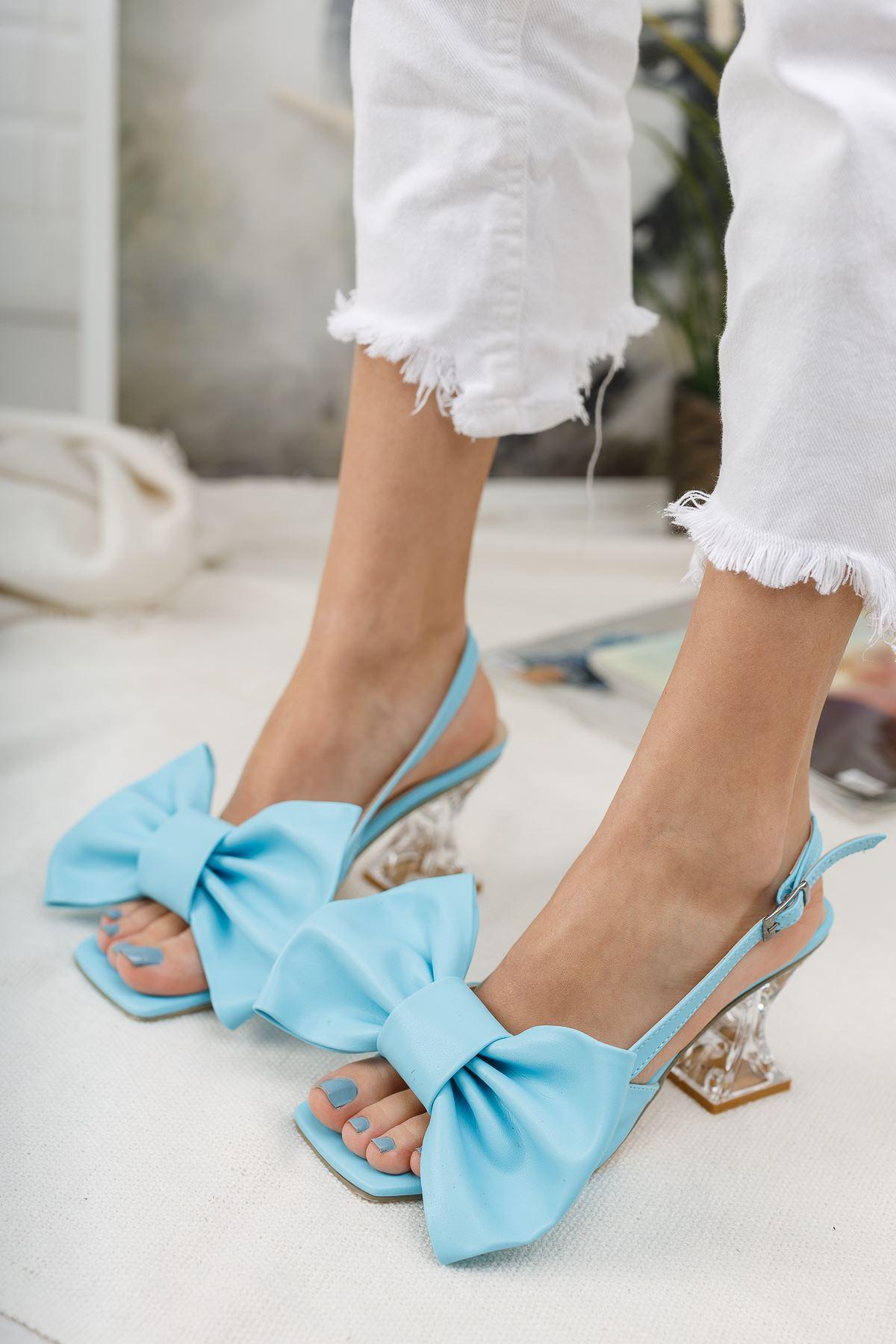 Kadın Paplik Şeffaf Topuklu Papyon Detaylı Mat Deri Mavi Ayakkabı