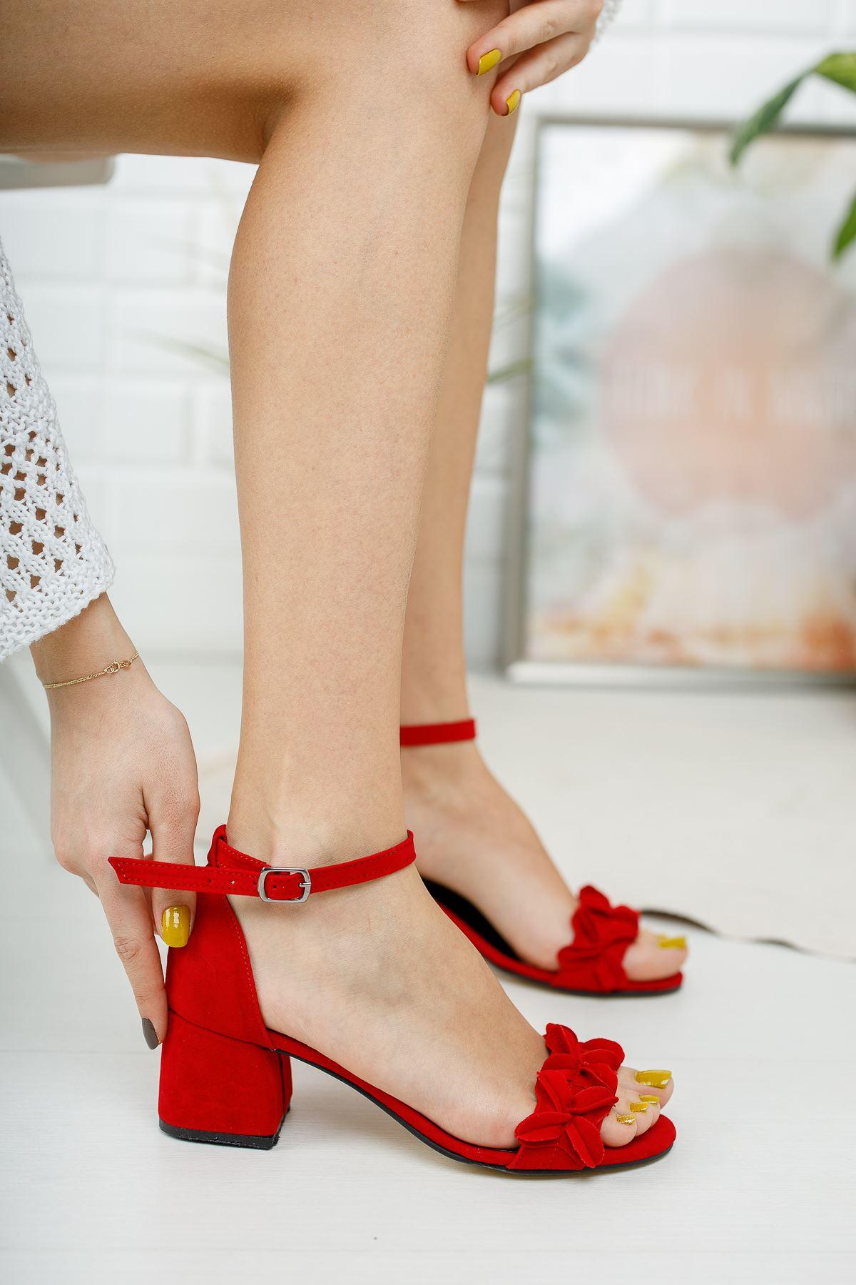 Kadın Sala Kısa Topuklu Ayakkabı Süet Kırmızı