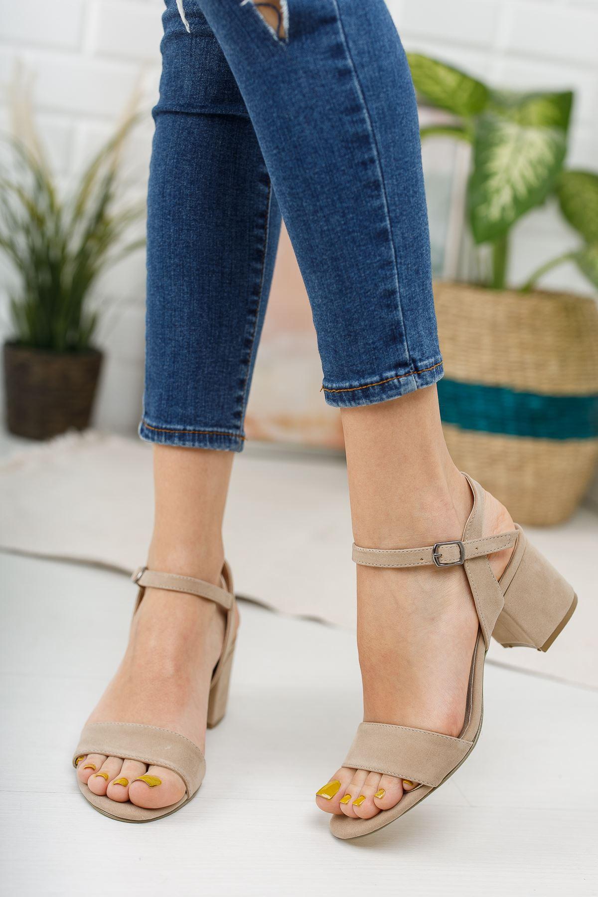 Kadın Lines Kısa Topuklu Kemerli Ten Süet Ayakkabı