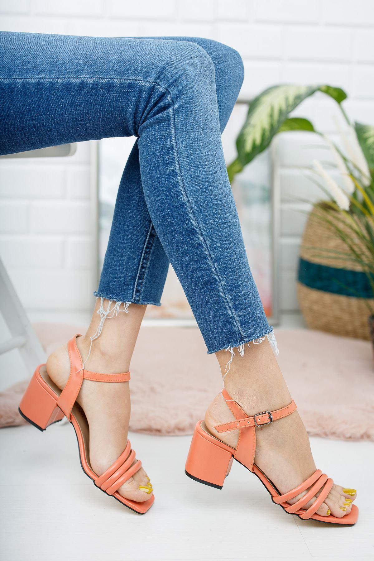 Kadın Holla Kısa Topuklu Mat Deri Turuncu Ayakkabı