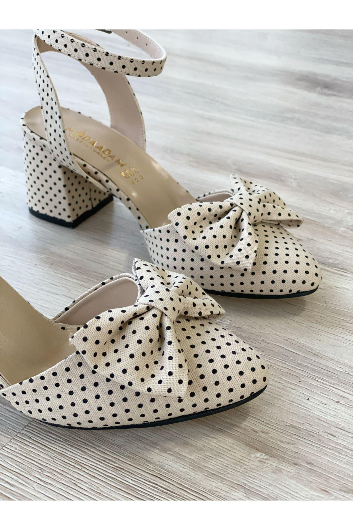 Kadın Petas Vizon Puantiye Hafif Topuklu Ayakkabı