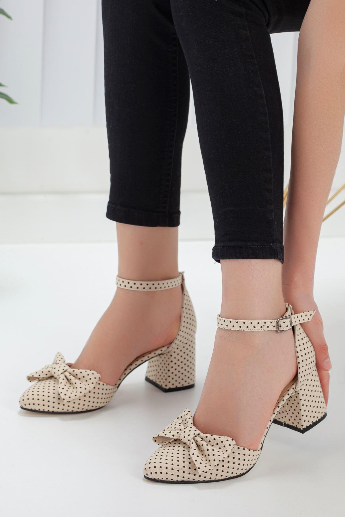 Kadın Polder Puantiye Hafif Topuklu Vizon Ayakkabı