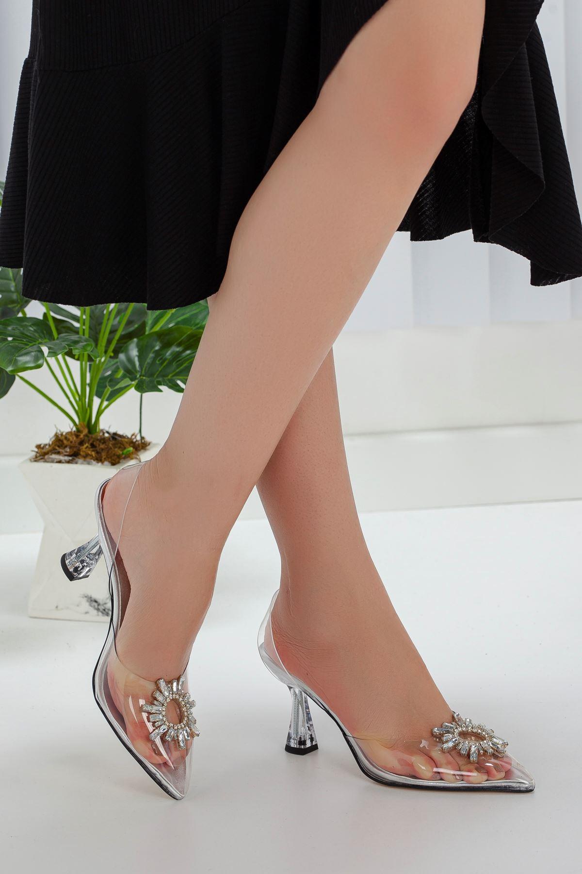 Kadın Oscar Şeffaf Deri Kristal Taş Detaylı Yüksek Topuklu Şeffaf  Ayakkabı