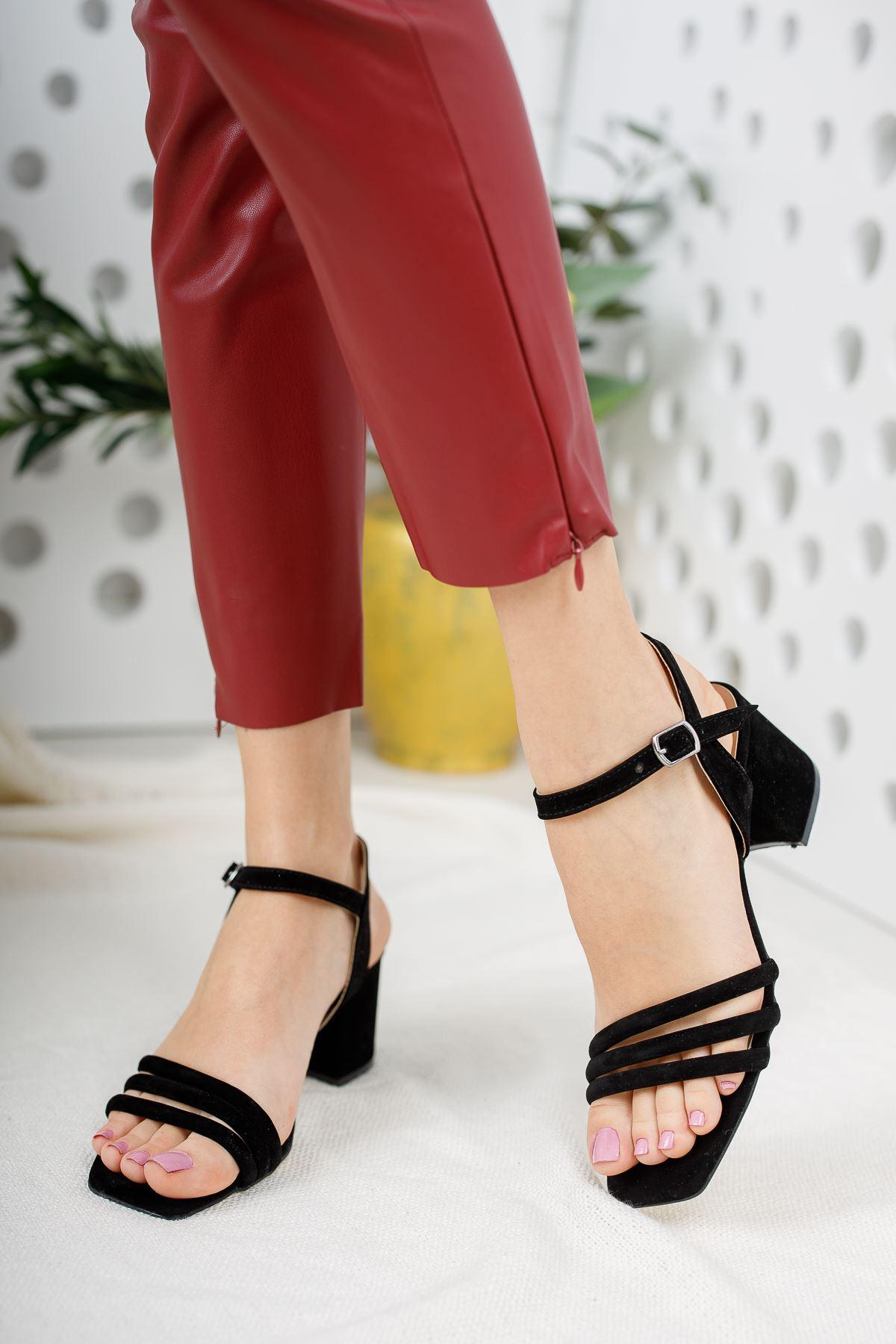 Kadın Holla Kısa Topuklu Siyah Süet  Ayakkabı