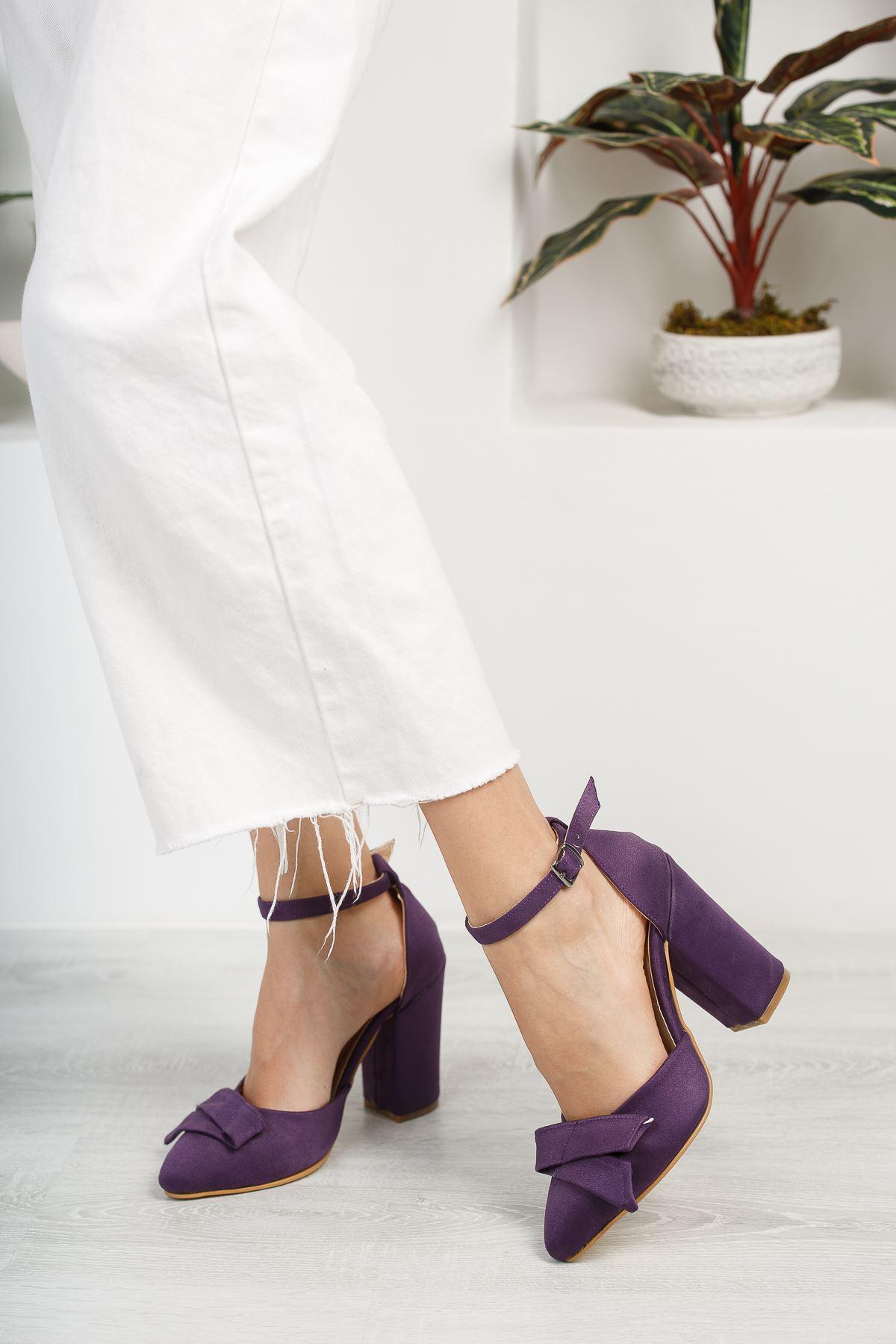Kadın Cines Kalın Topuklu Mor Süet Ayakkabı Sivri Burun Yüksek Topuklu