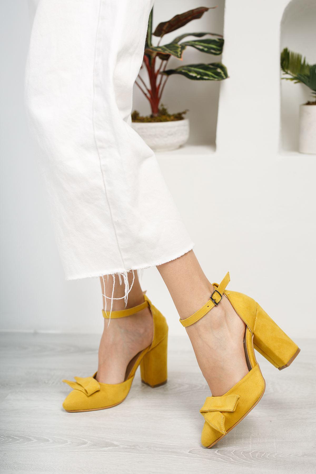 Kadın Cines Kalın Topuklu Sivri Burun Yüksek Topuklu Hardal Süet Ayakkabı