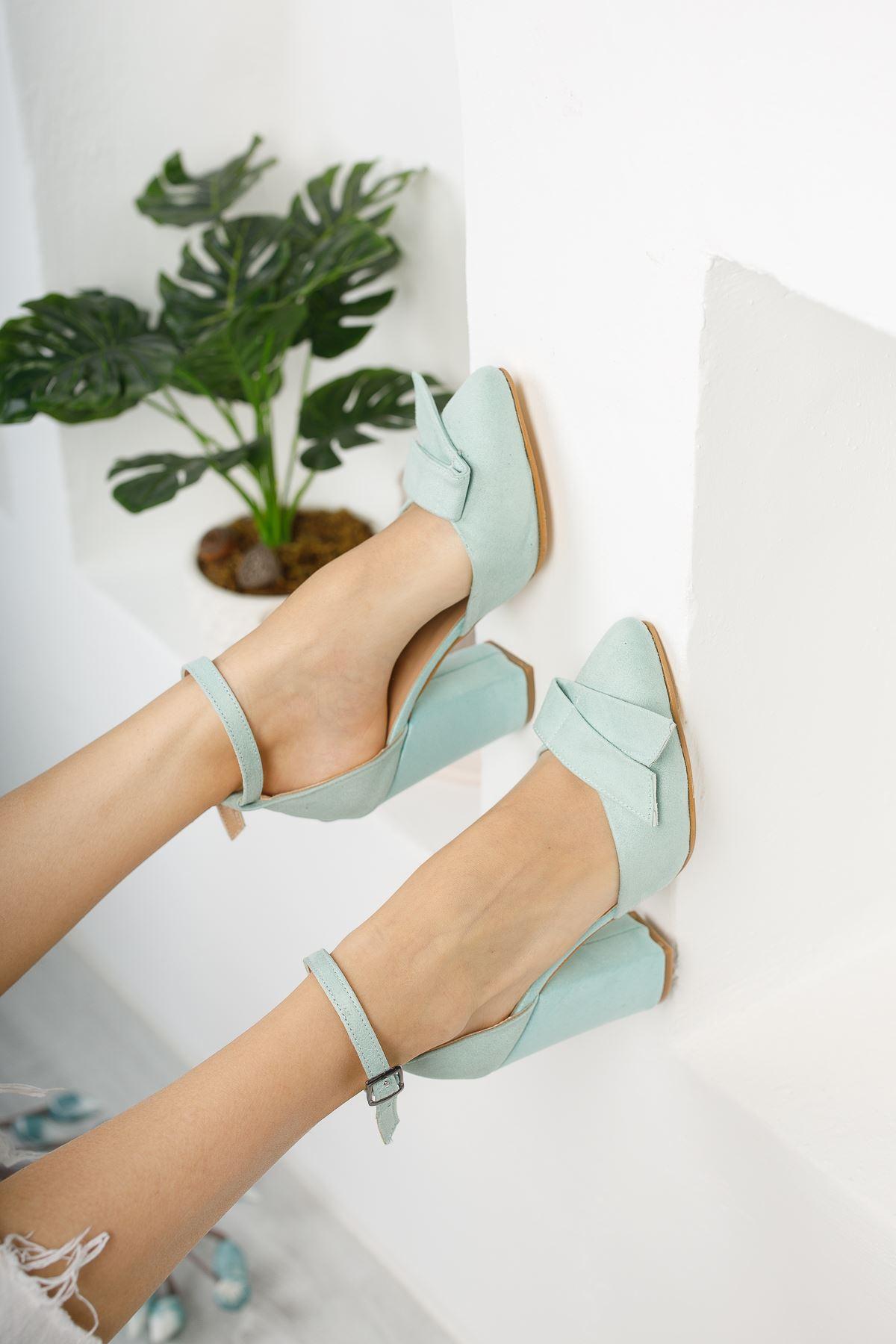 Kadın Cines Kalın Topuklu Sivri Burun Yüksek Topuklu Yeşil Süet Ayakkabı