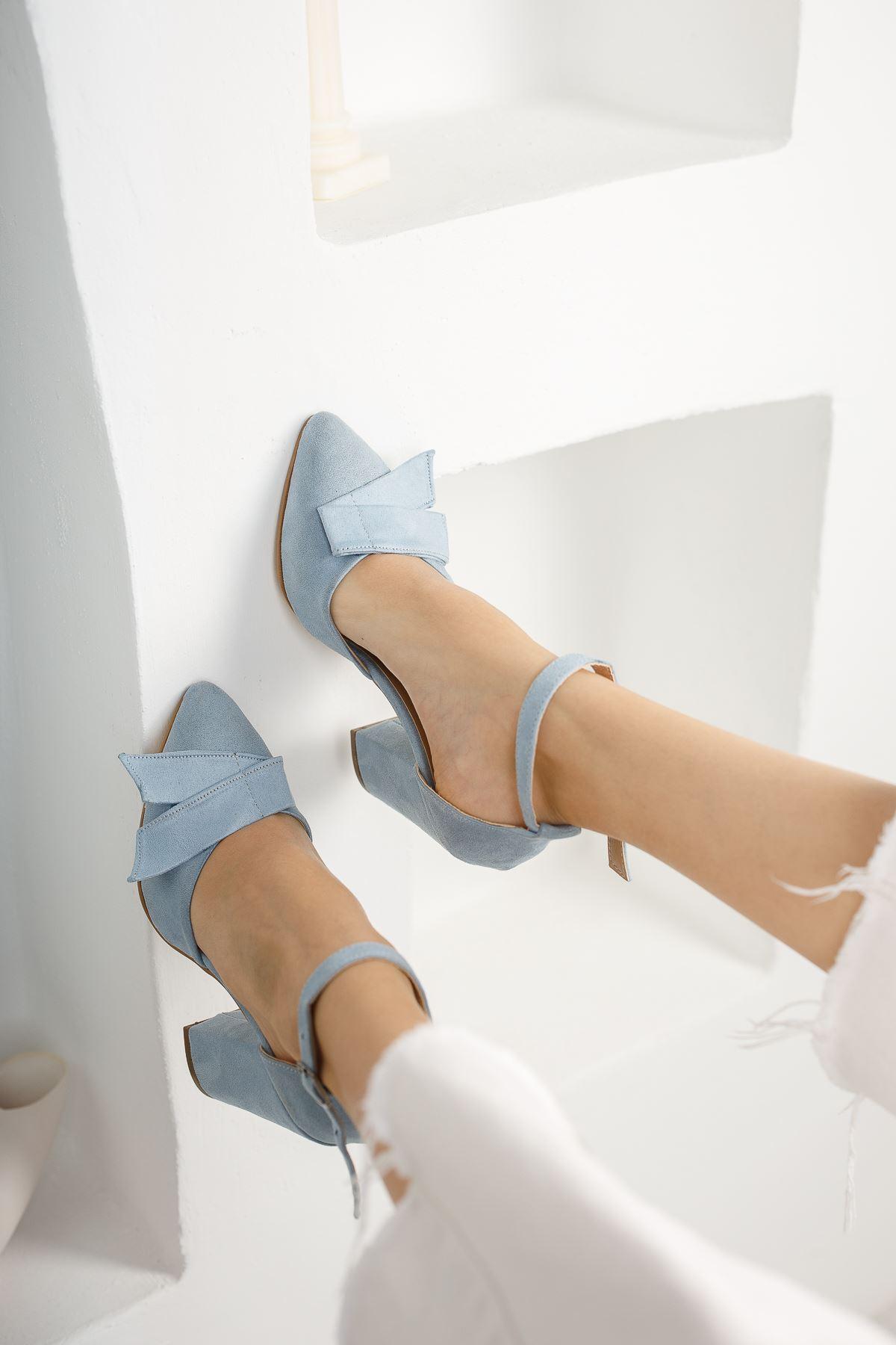 Kadın Cines Kalın Topuklu Sivri Burun Yüksek Topuklu Bebe Mavi Süet Ayakkabı