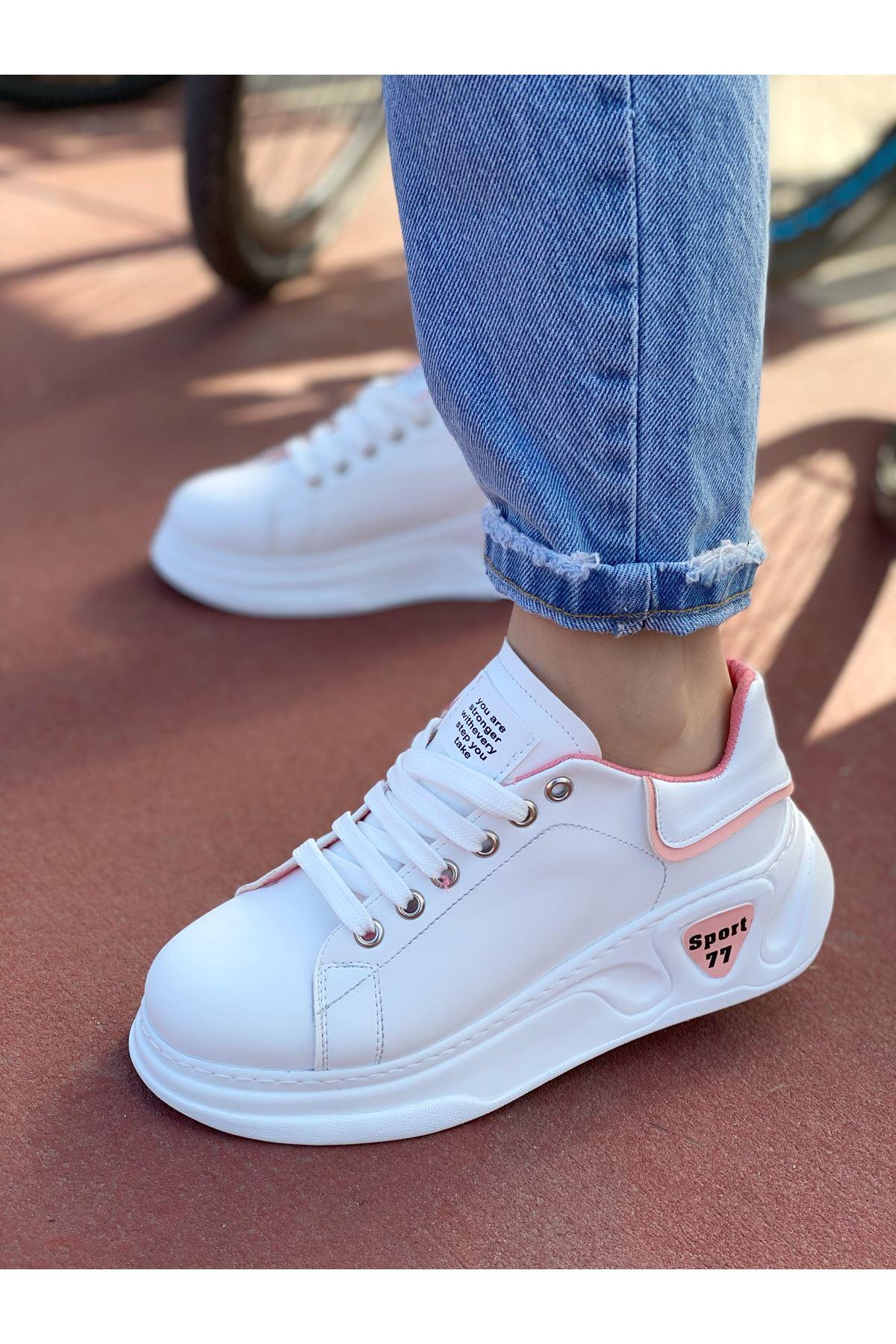 Kadın Taylor Kalın Taban Beyaz Pudra Detay Spor Ayakkabı Bağcıklı Mat Deri