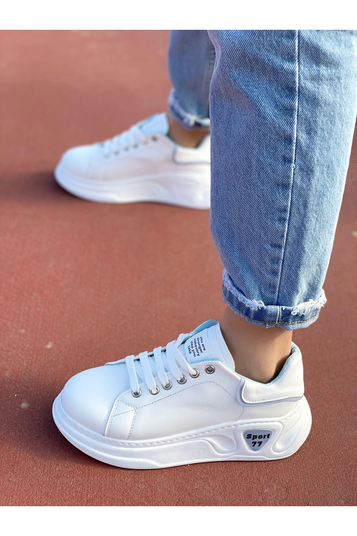 Kadın Taylor Kalın Taban Beyaz Mavi Detay Spor Ayakkabı Bağcıklı Mat Deri