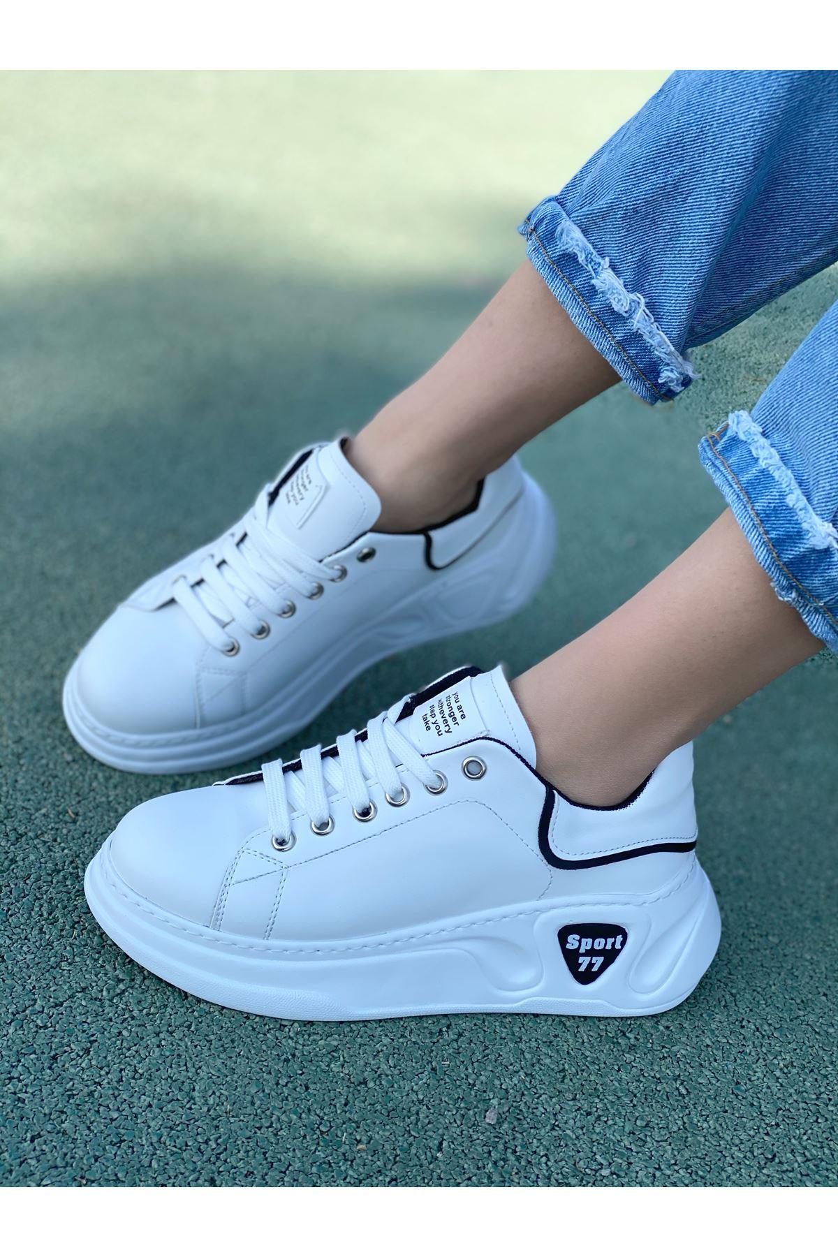 Kadın Taylor Kalın Taban Beyaz Siyah Detay Spor Ayakkabı Bağcıklı Mat Deri