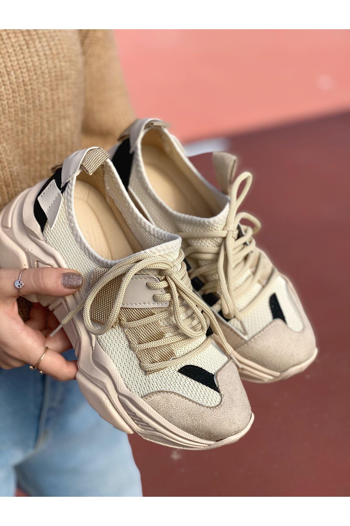 Kadın Kuli Karışık Triko Malzeme Bağcık Detaylı Kalın Taban Vizon Spor Ayakkabı