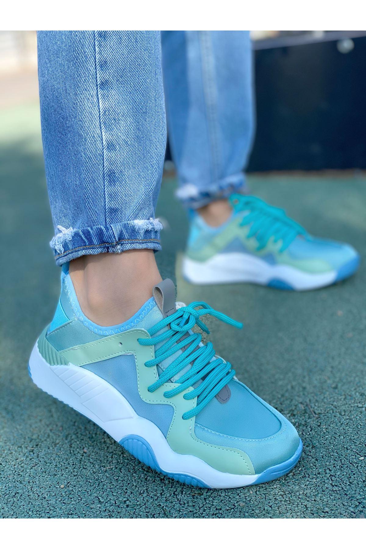 Kadın Mendi Mat Deri Bağcık Detaylı Spor Ayakkabı Su Yeşili