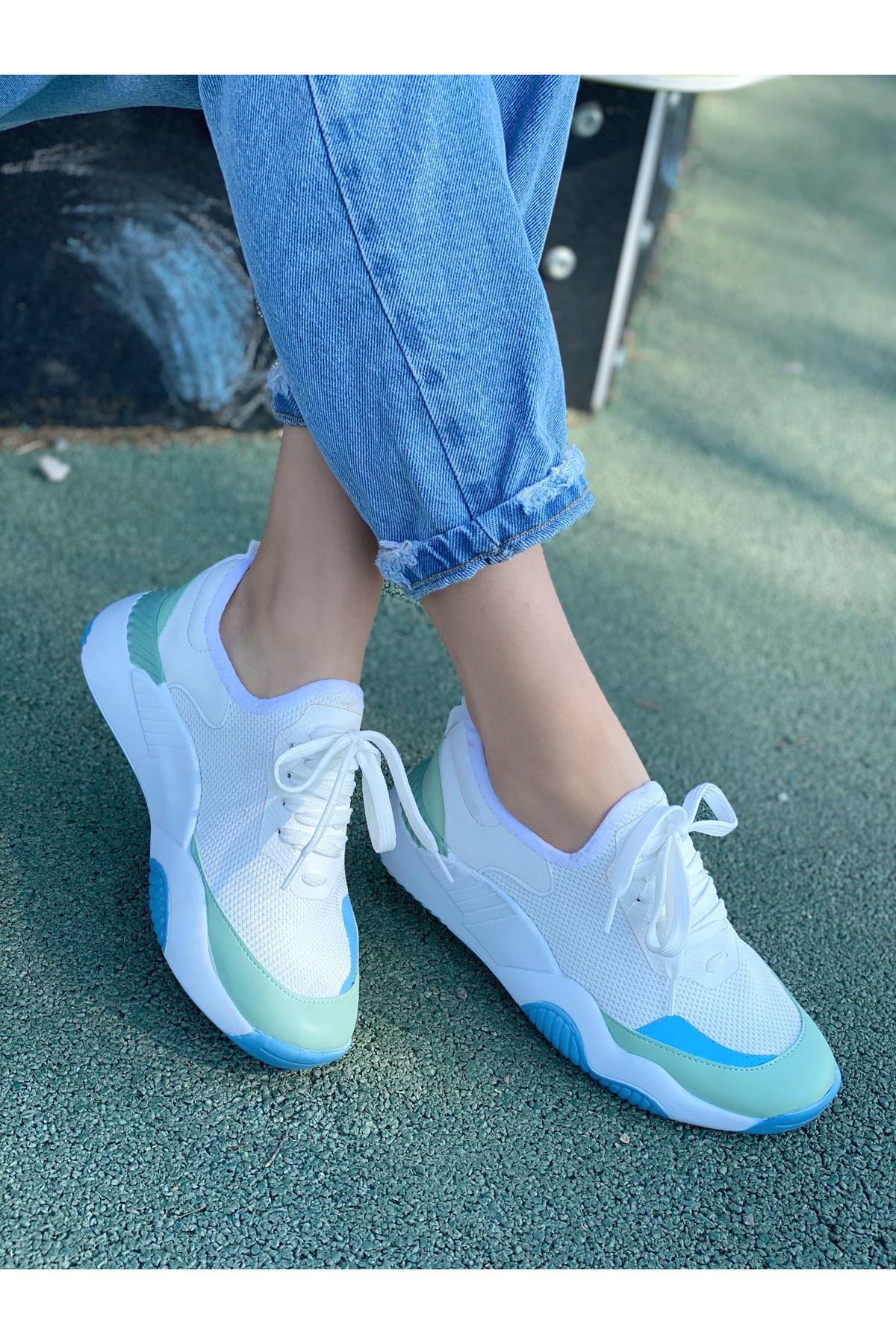 Kadın Karen Beyaz Karışık Malzeme Bağcık Detaylı Kalın Taban Spor Ayakkabı Su Yeşili