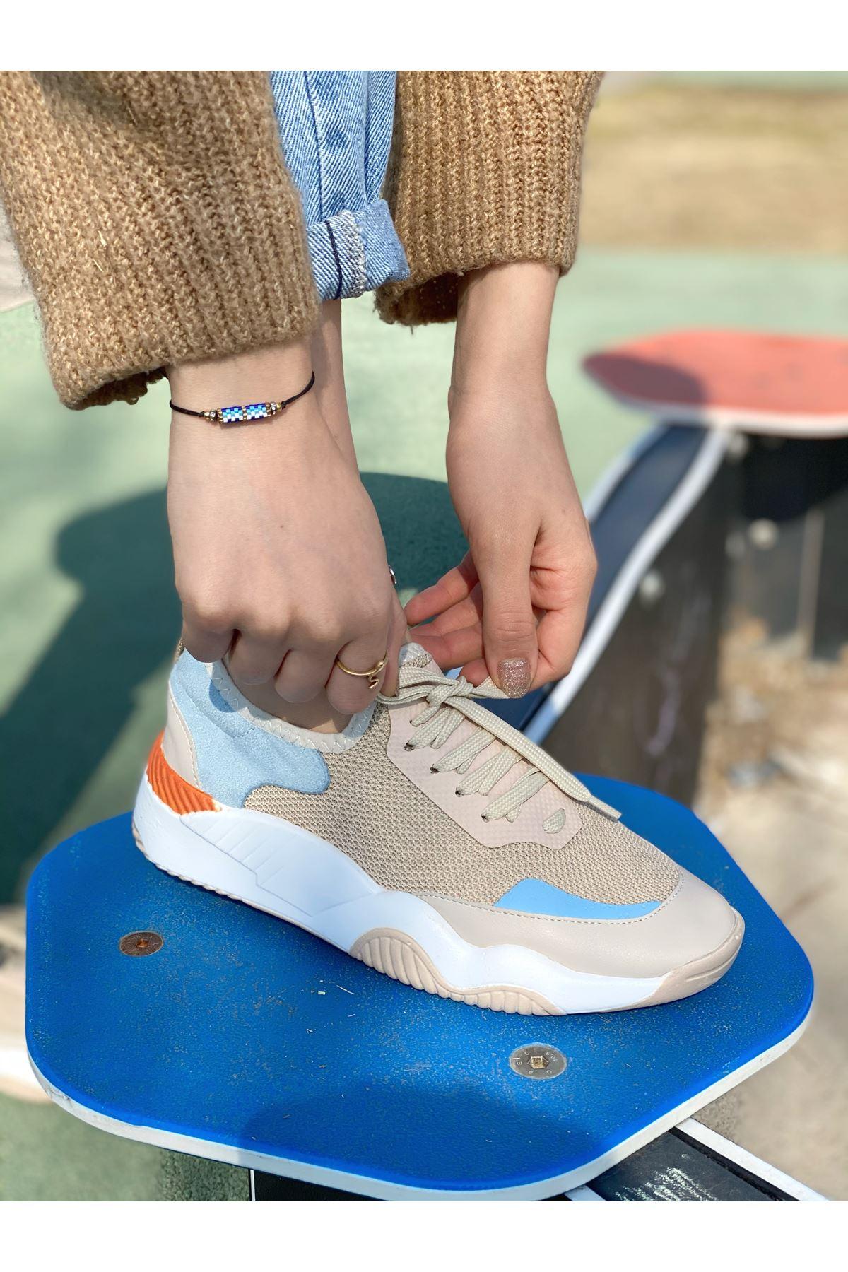 Kadın Karen Karışık Malzeme Bağcık Detaylı Kalın Taban Spor Ayakkabı Vizon