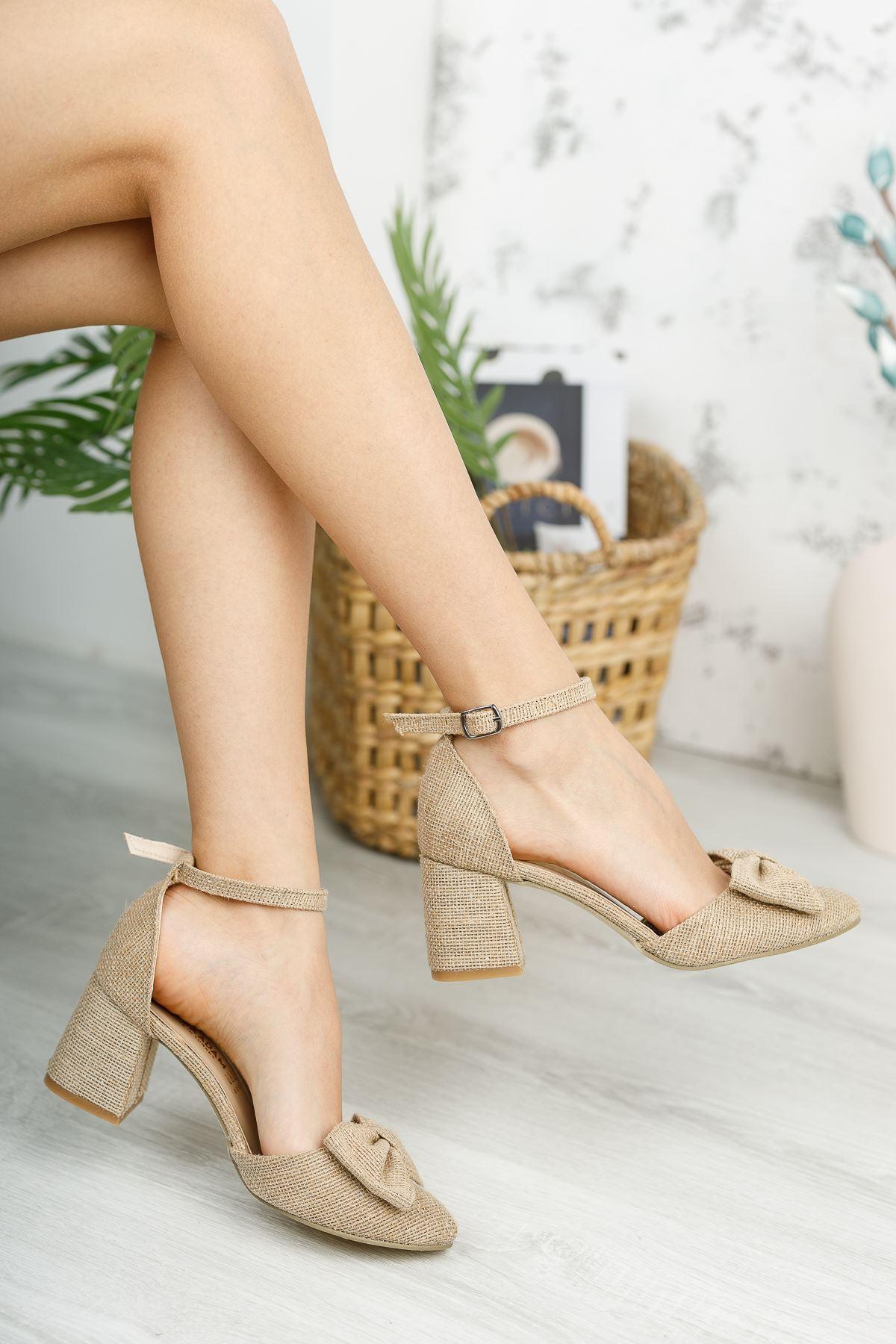 Kadın Verto Papyon Detay  Hasır Malzeme Topuklu Ayakkabı