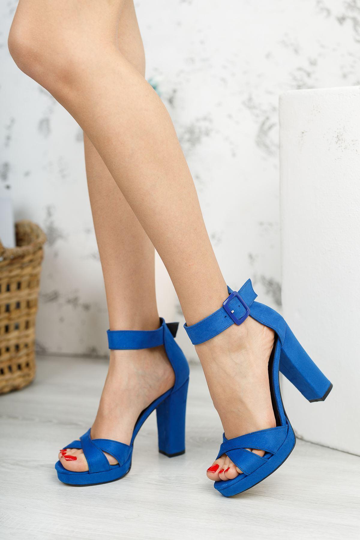 Kadın Loked Yüksek Topuklu Çapraz Bantlı Saks Mavi Süet Tek Bant Ayakkabı