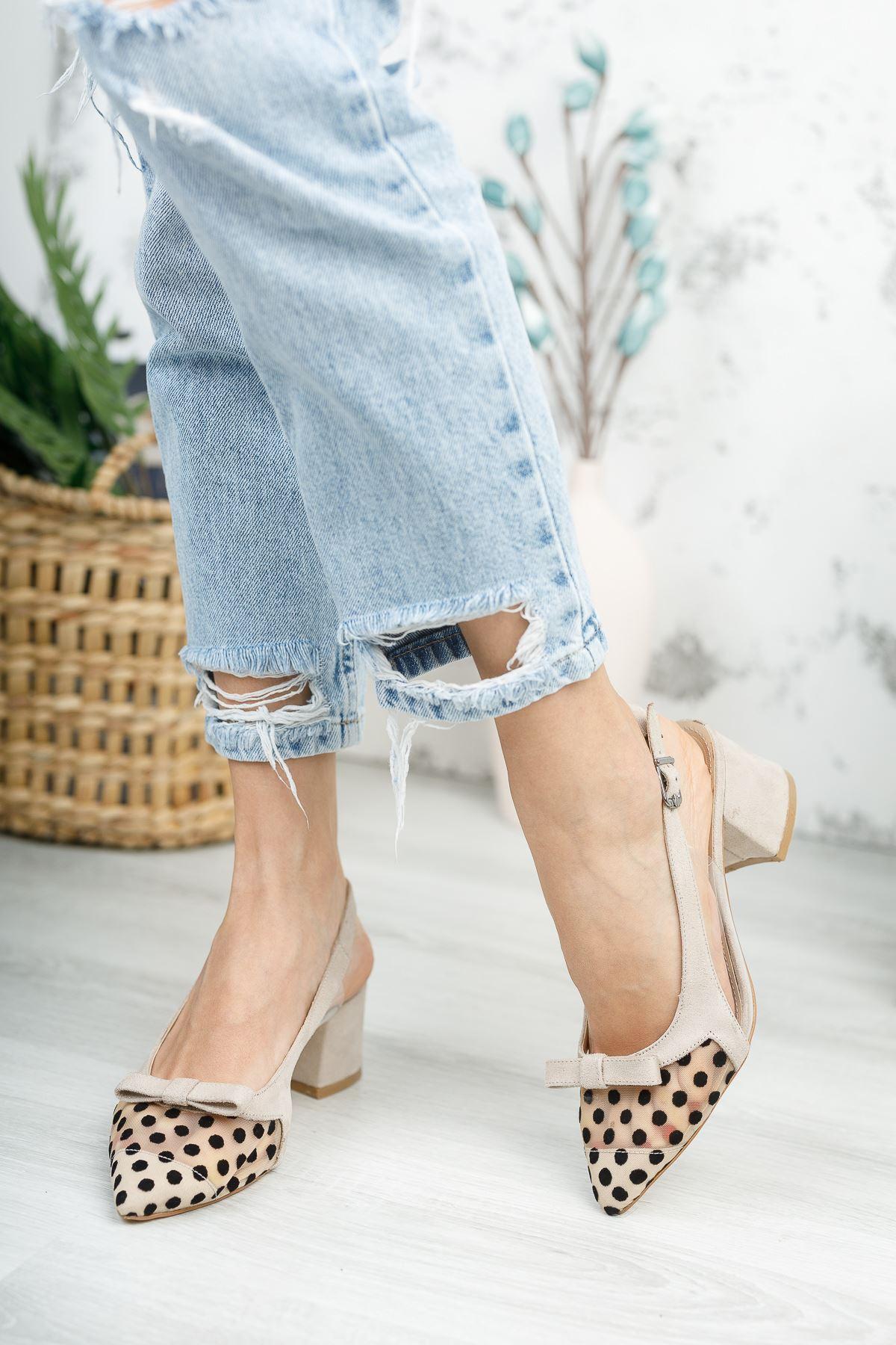 Kadın Nesta Sivri Burun Puantiyeli  Ten Süet Topuklu Ayakkabı