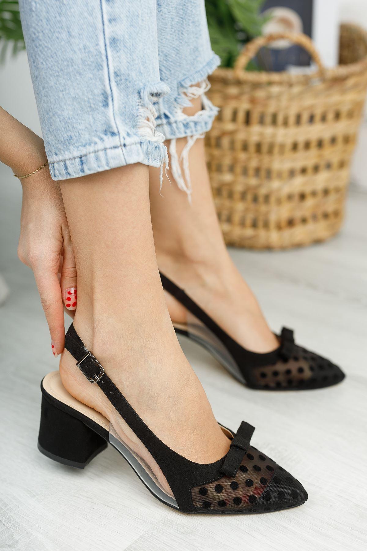 Kadın Nesta Sivri Burun Puantiyeli  Siyah Süet Topuklu Ayakkabı