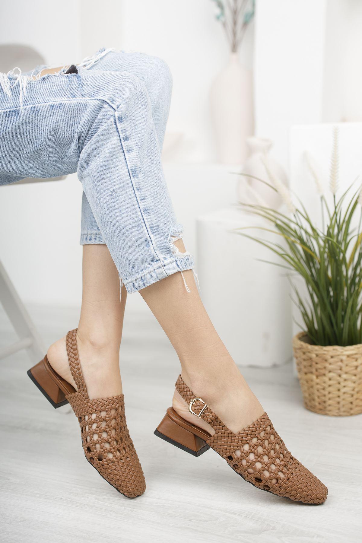 Kadın Terry Örgü Detay Mat Deri Taba Kısa Topuklu Ayakkabı