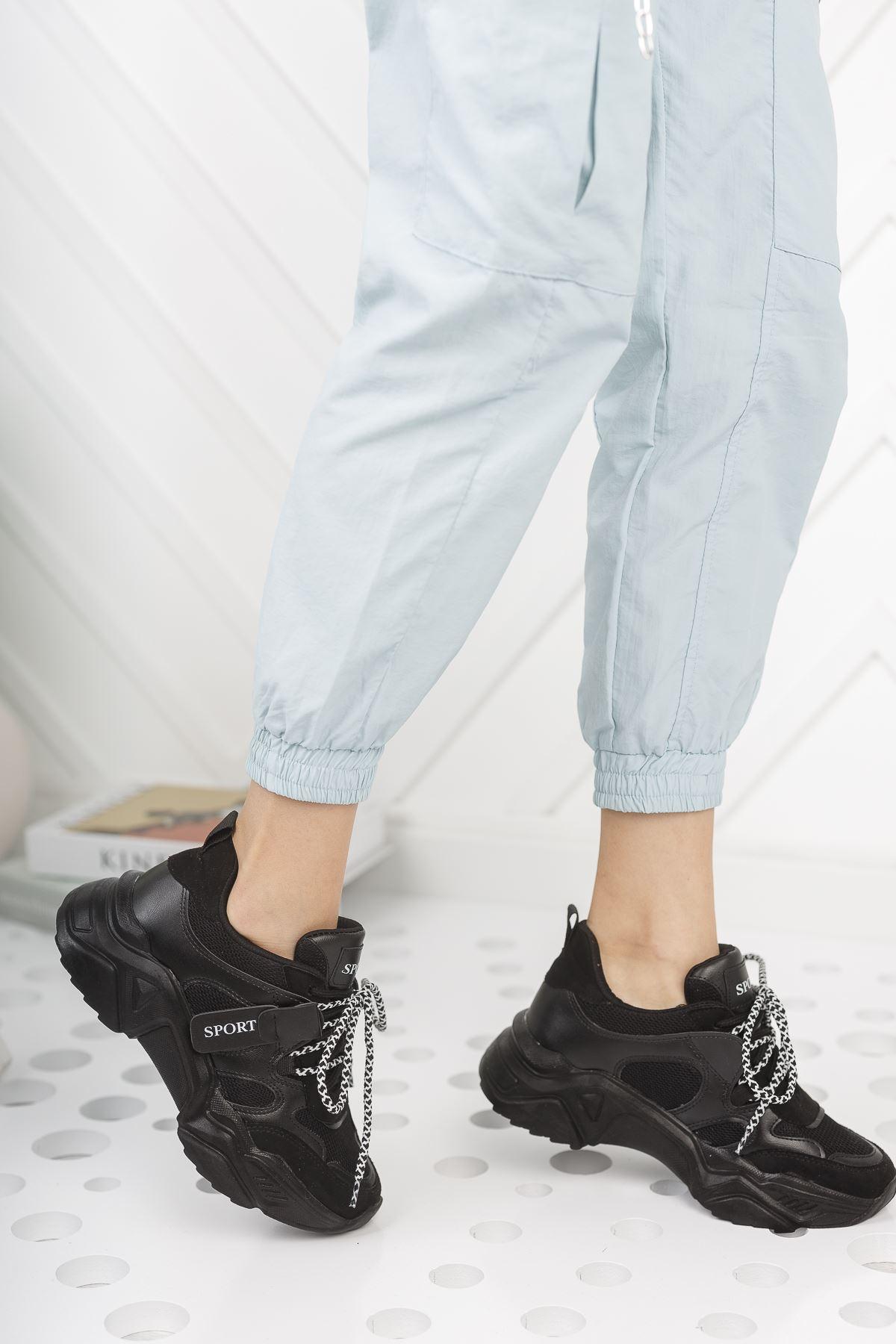 Kadın Rovina Triko Detay Kalın Taban Siyah Spor Ayakkabı