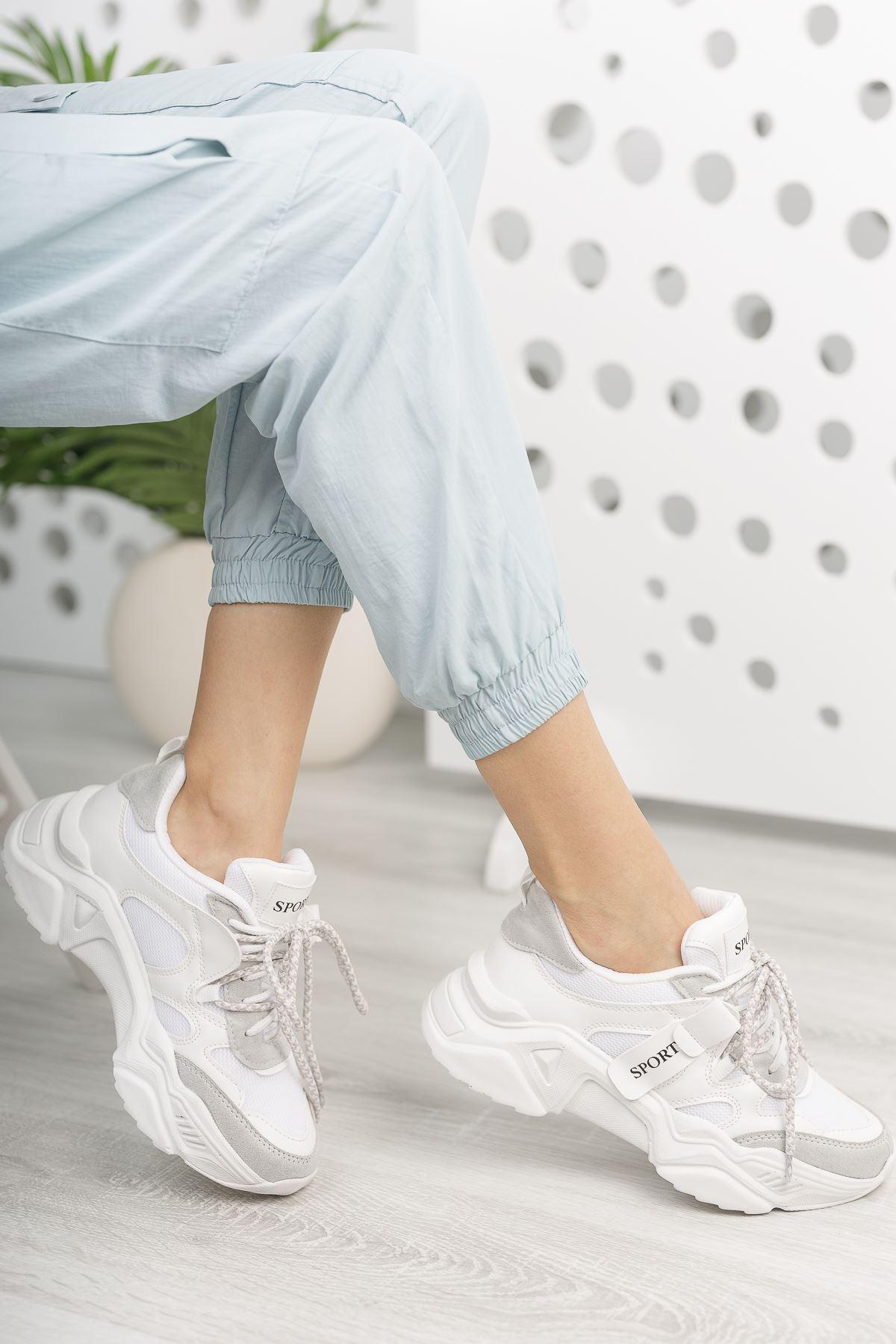 Kadın Rovina Triko Detay Kalın Taban Beyaz Spor Ayakkabı