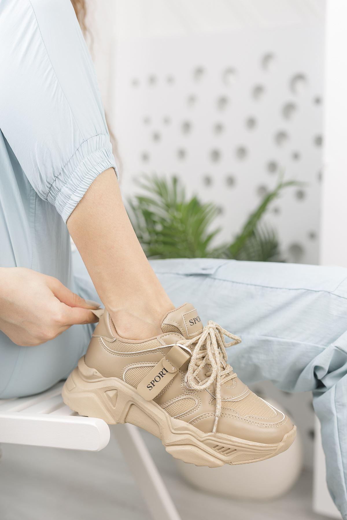 Kadın Rovina Triko Detay Kalın Taban Nude Spor Ayakkabı