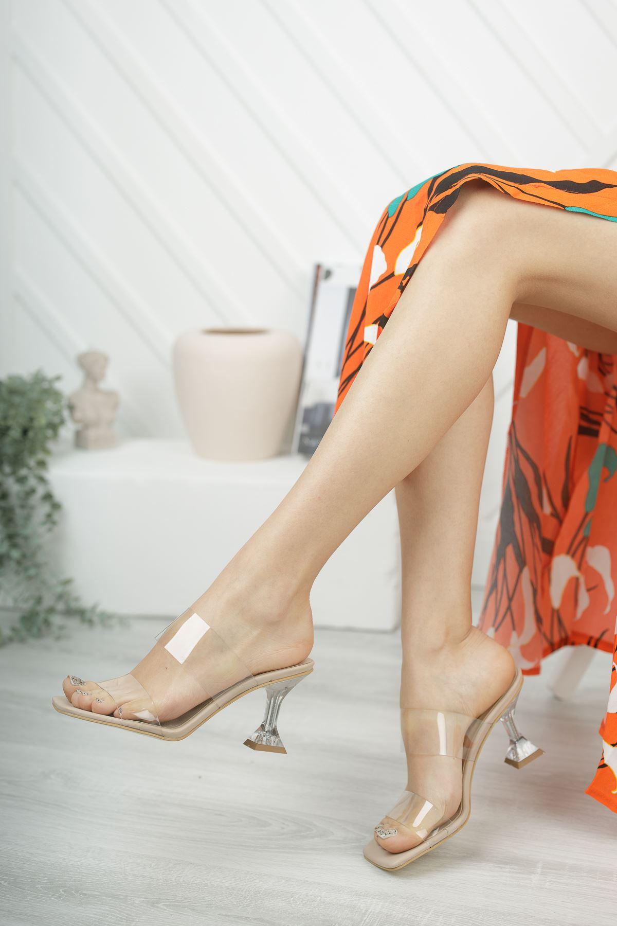 Kadın Runi Kadeh Topuklu Şefaf Bantlı Ten Topuklu Terlik